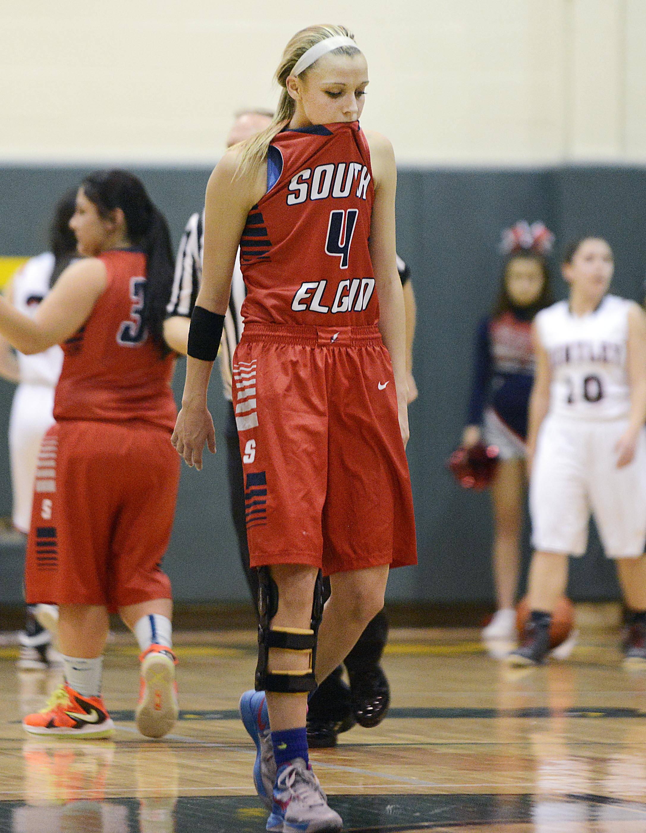 South Elgin's Savanah Uveges reacts late in the loss to Huntley in the Class 4A Crystal Lake South sectional game Tuesday.