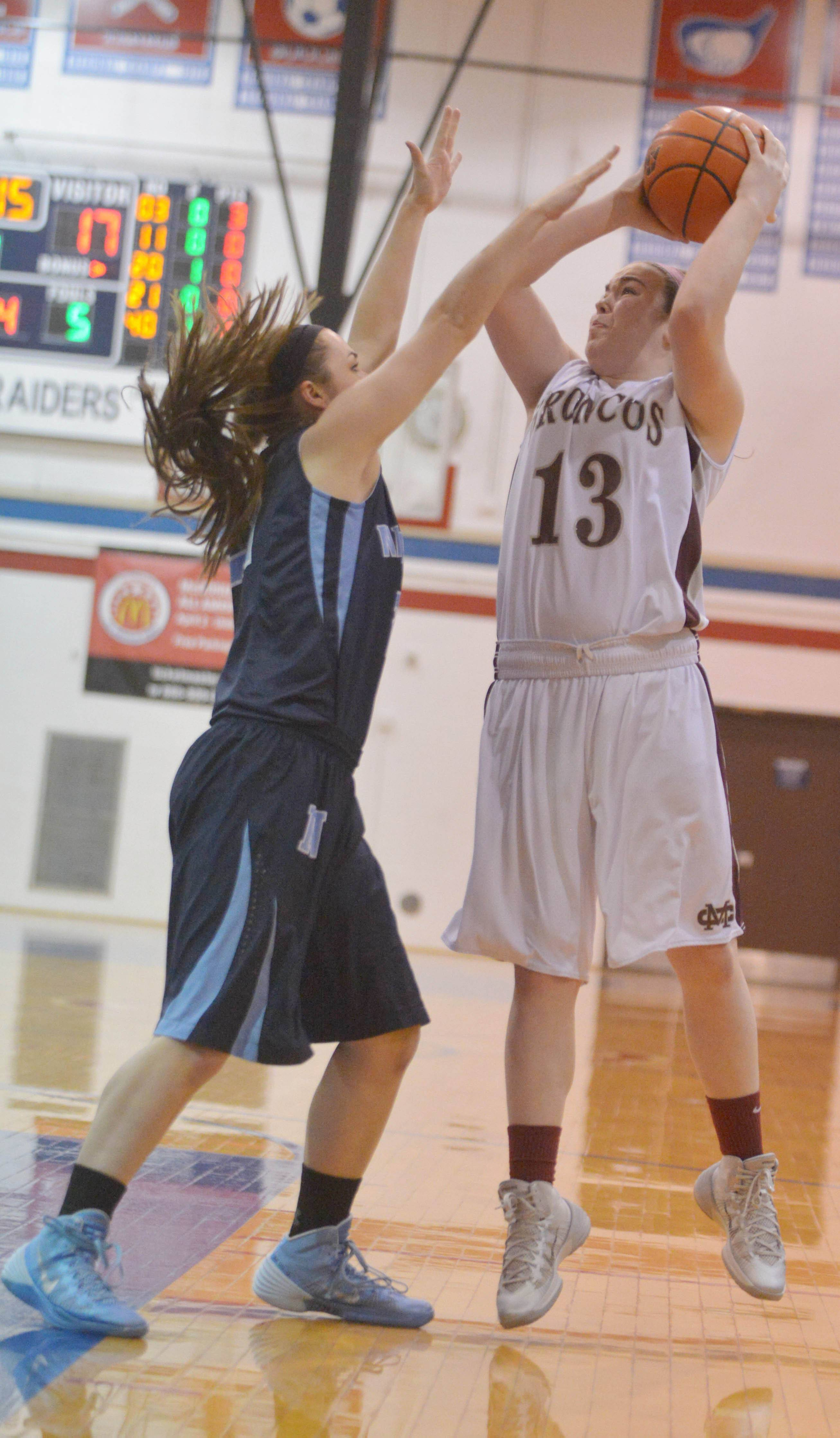 Kaylee Bambule of Montini lines up a shot.