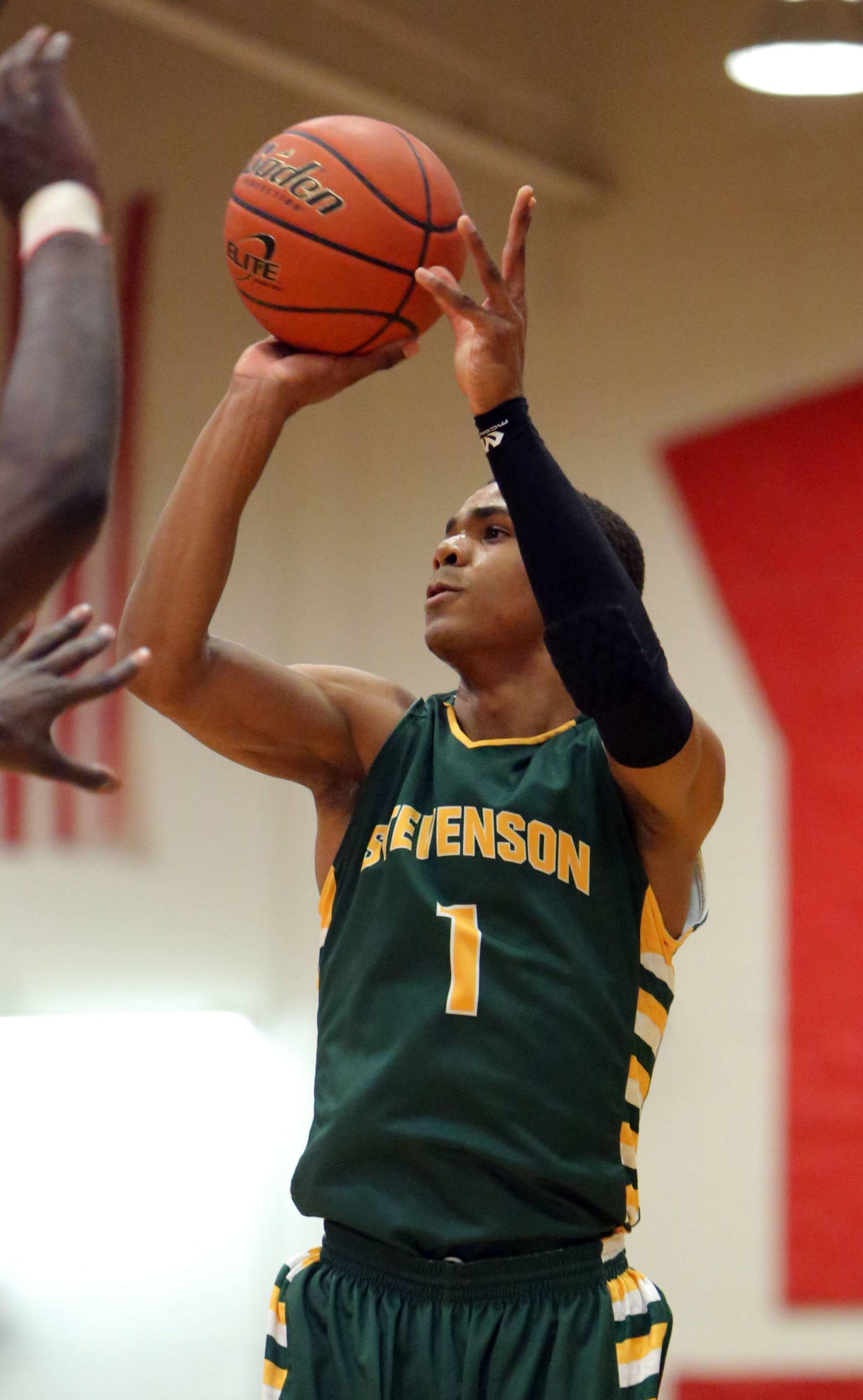 Stevenson's Connor Cashaw shoots during the Pats' victory over North Chicago in the North Suburban Conference championship game Wednesday night at North Chicago.