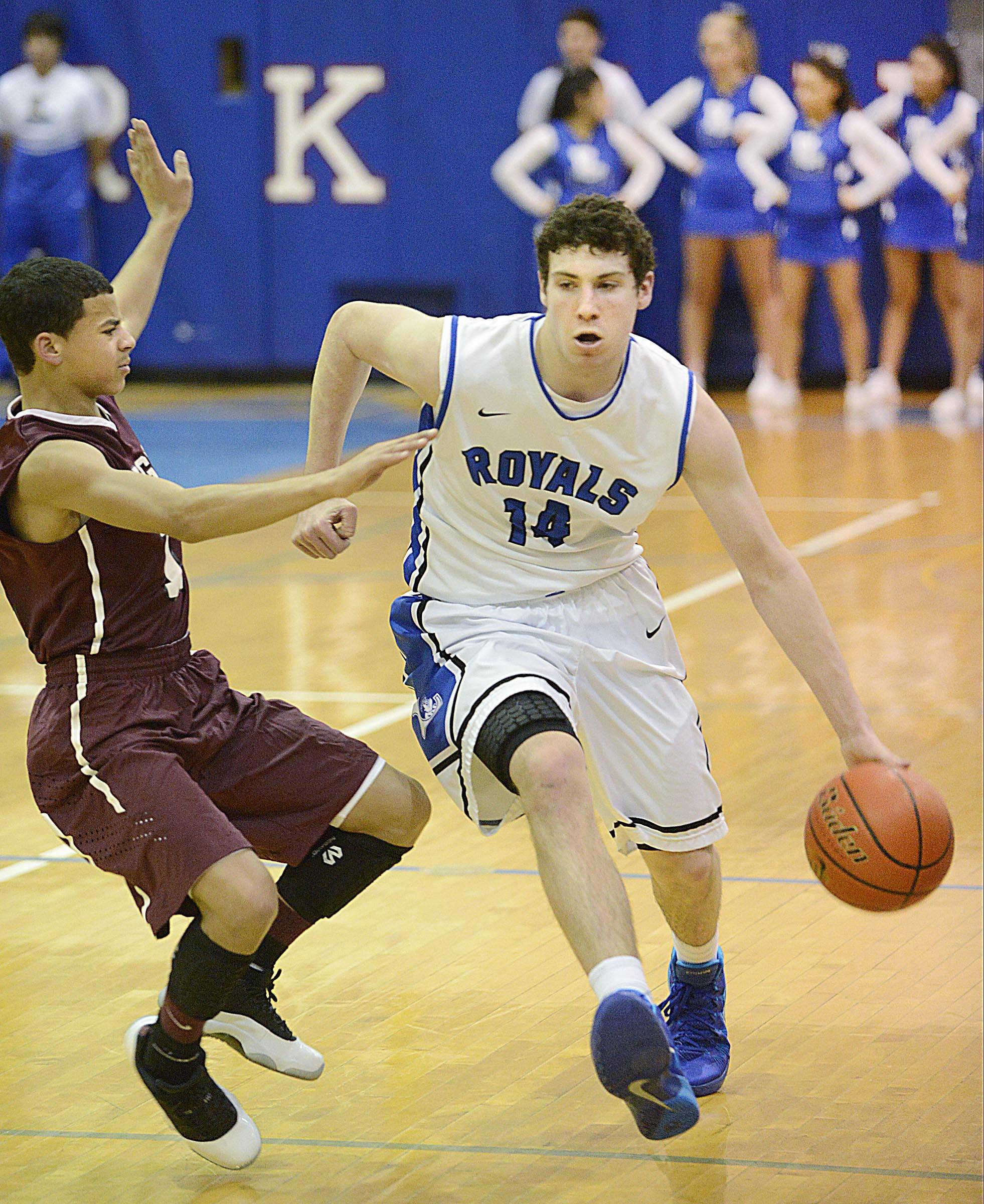 Larkin's Drew Jones, right, works against Elgin earlier this season. The Royals host Neuqua Valley Friday night in the Upstate Eight Conference first-place crossover game.