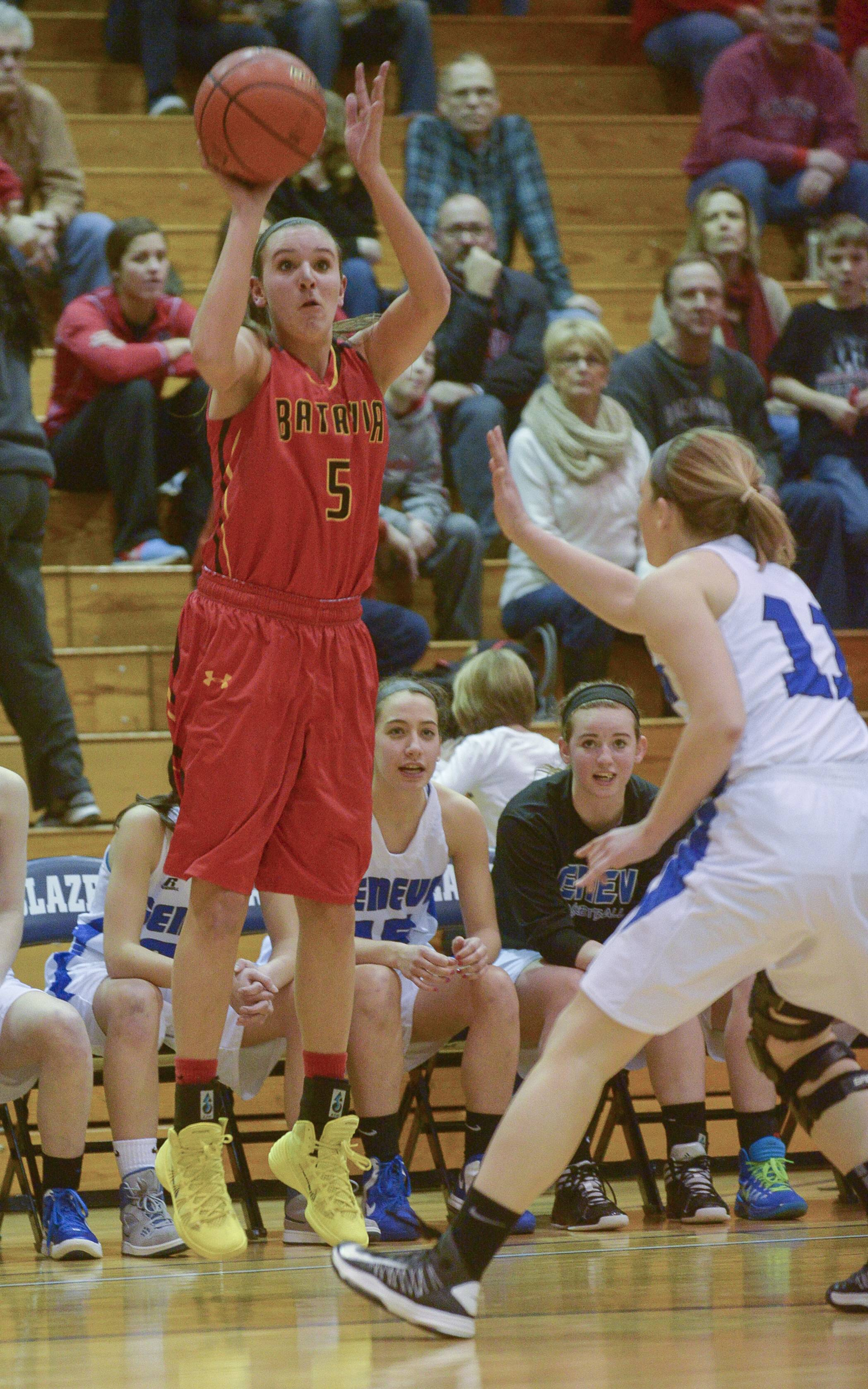Batavia's Liza Fruendt takes shot against Geneva during the Class 4A girls basketball sectional final game at Addison Trail in Addison, Thursday.