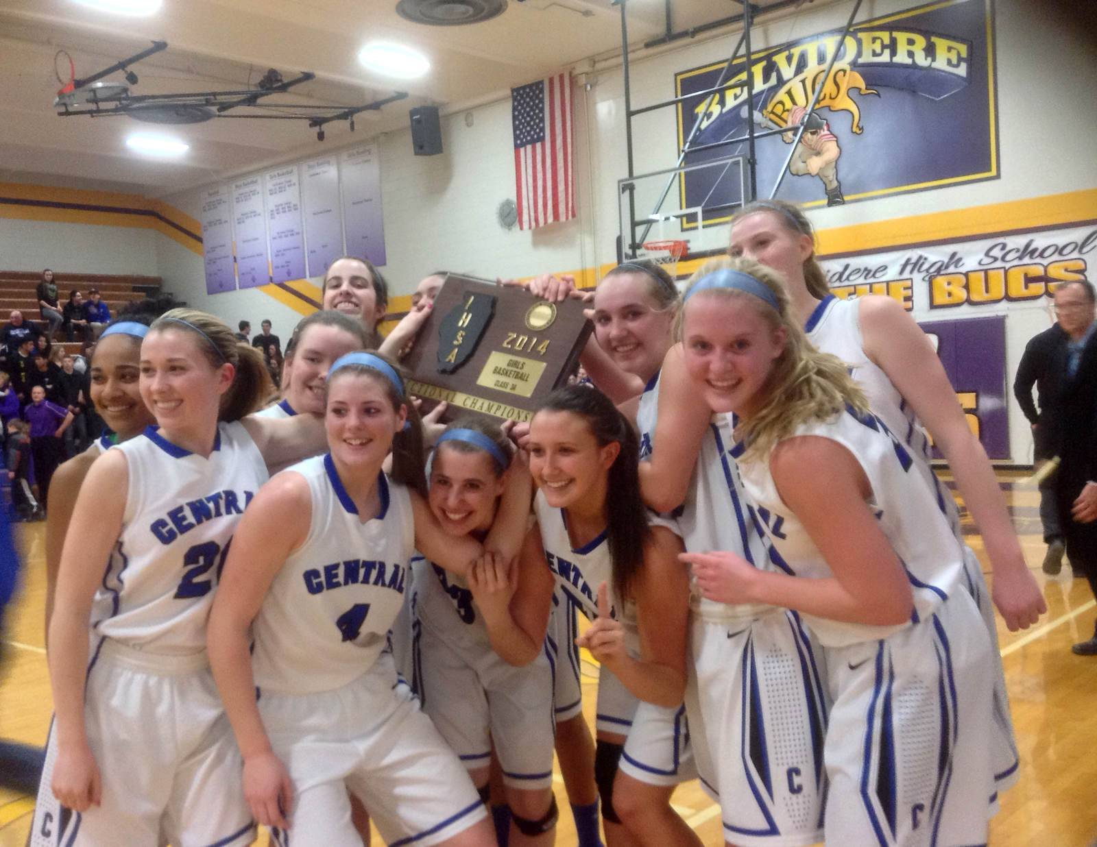 Burlington Central celebrates its 55-41 win over Rockford Lutheran Thursday in the Class 3A sectional championship at Belvidere.