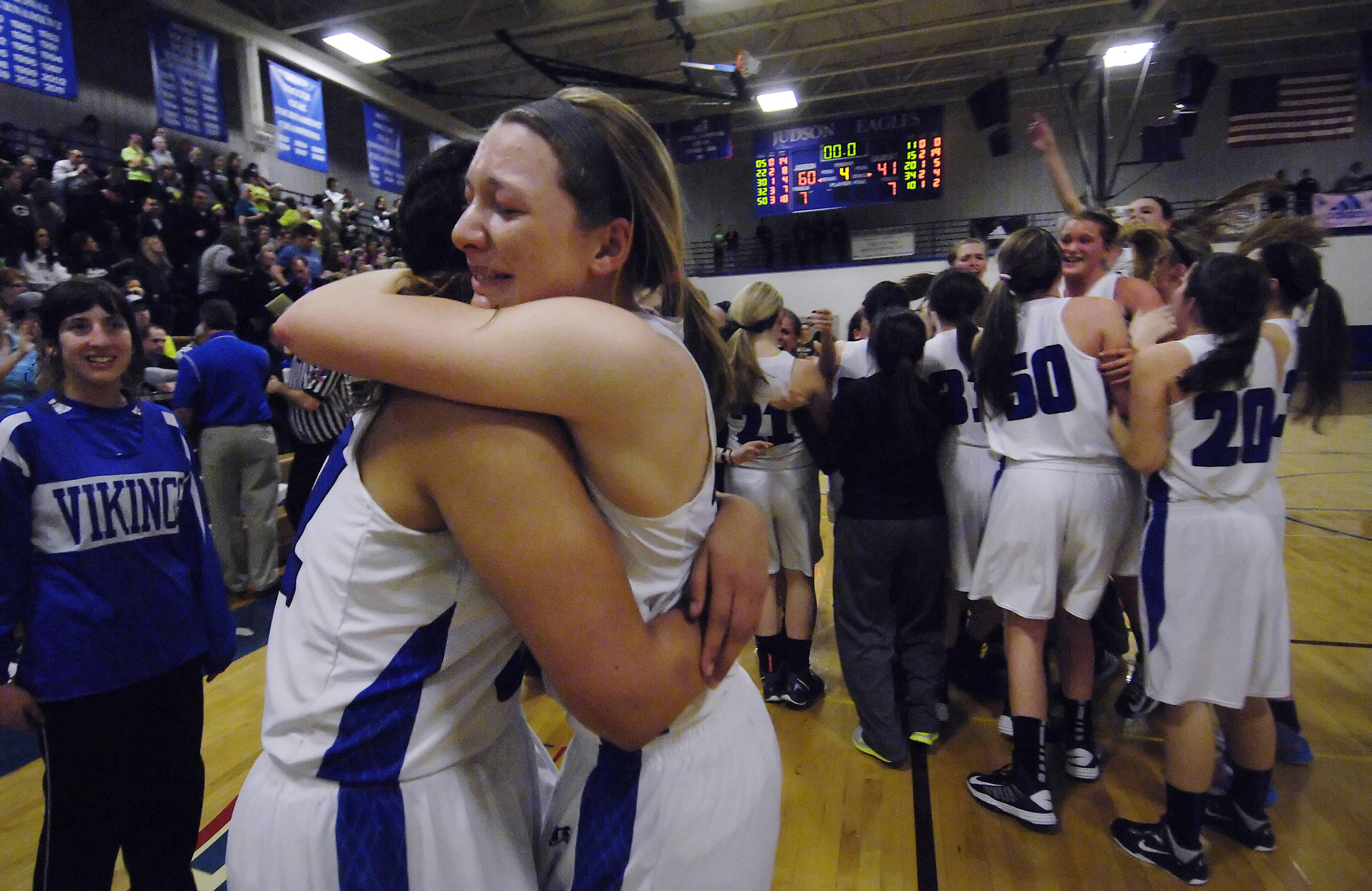 Geneva seniors Michaela Loebel and Sidney Santos celebrate their trip to state.