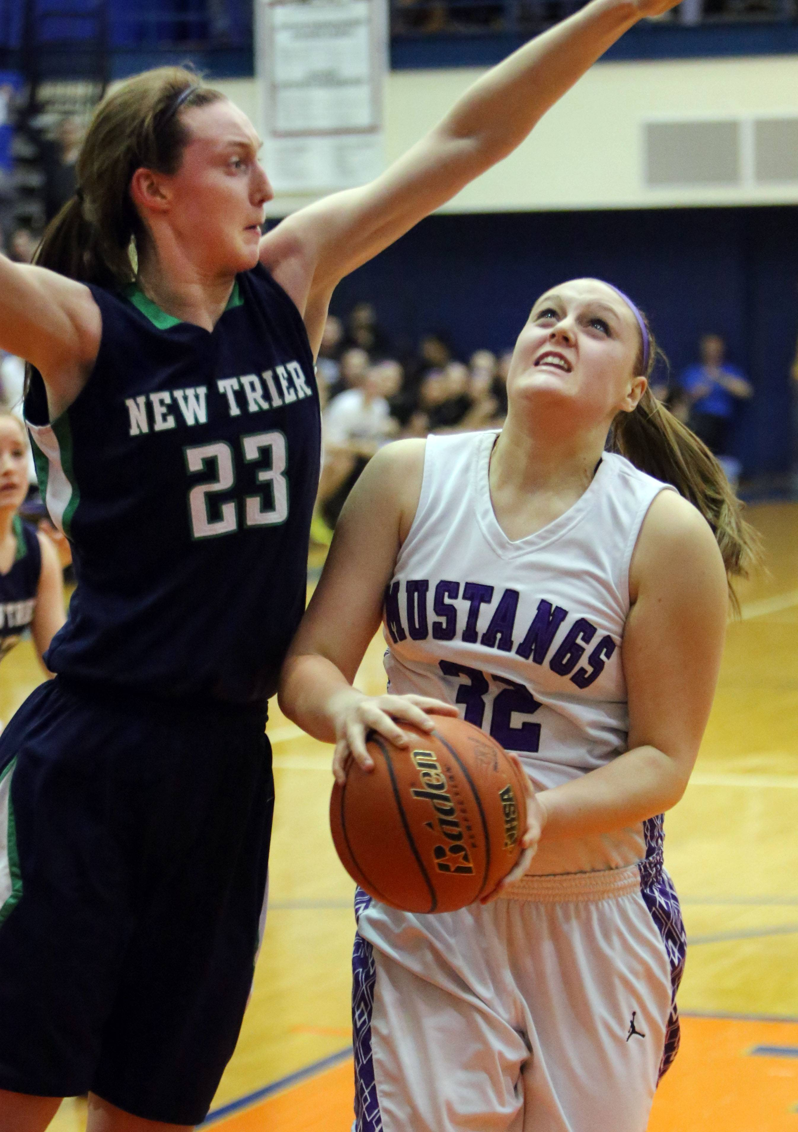 Rolling Meadows' Katie Shewmon, right, drives on New Trier's Jeannie Boehm .