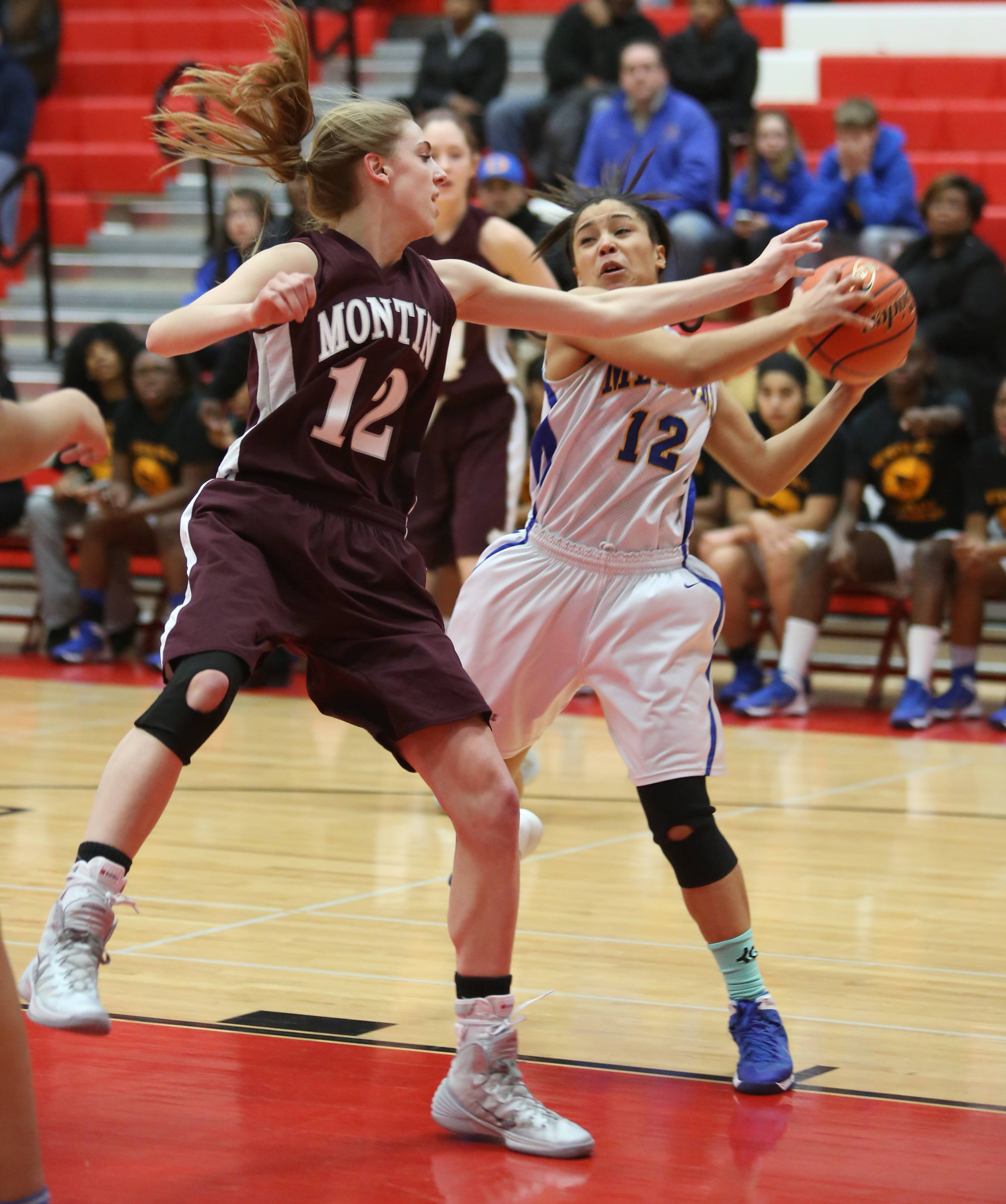 Montini played De La Salle in Class 3A girls basketball supersectional action at Hinsdale Central, Monday, March 3.