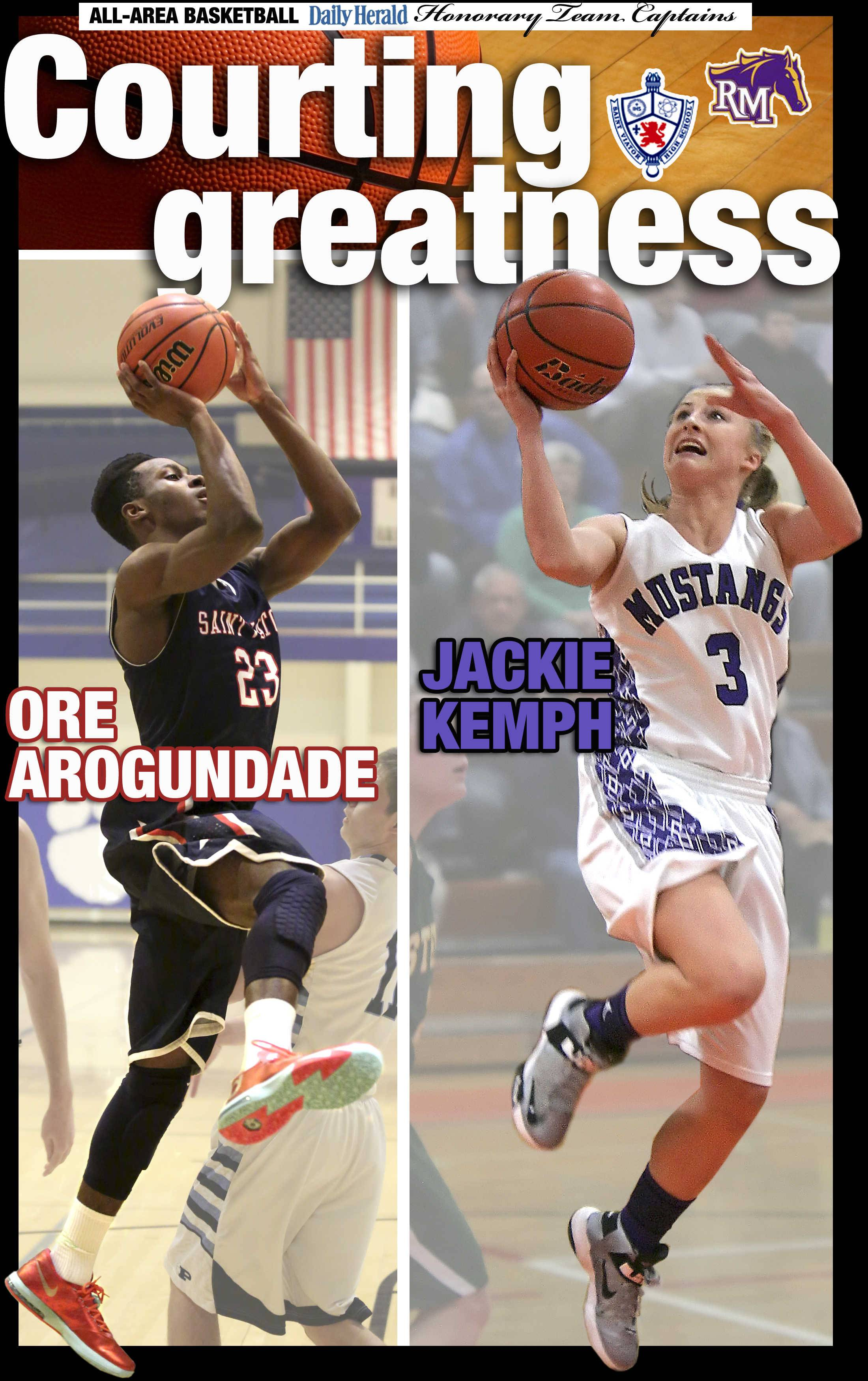 Ore Arogundade of St. Viator and Jackie Kemph of Rolling Meadows are the Daily Herald All-Area honorary team captains for basketball in the Northwest in 2014.