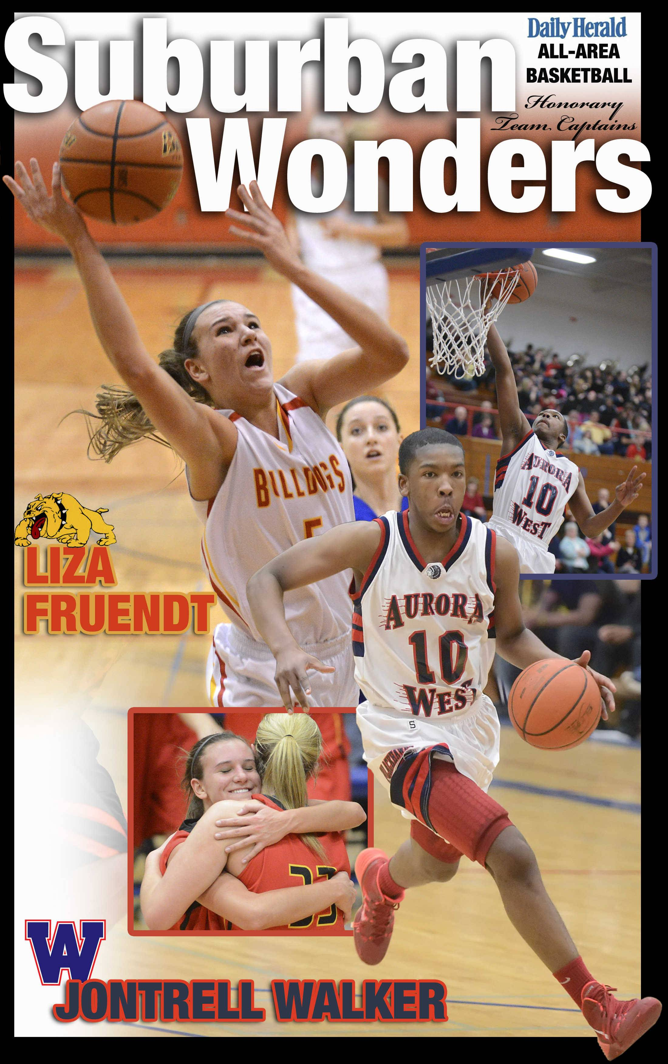 Liza Fruendt of Batavia and  Jontrell Walker of West Aurora are the Daily Herald All-Area honorary team captains for basketball in the Tri-Cities  in 2014.