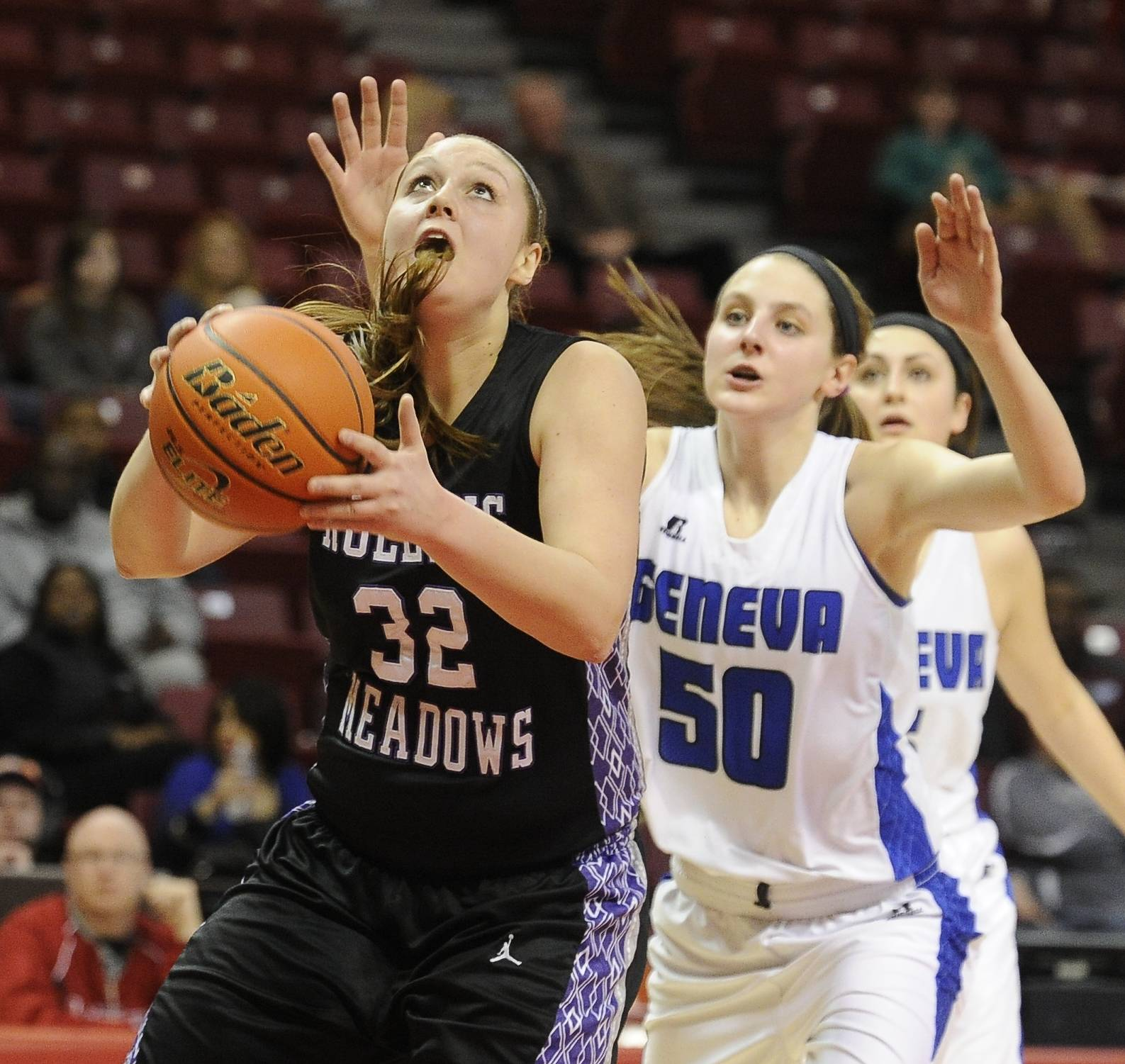 Images from the Geneva vs. Rolling Meadows  Class 4A state semifinal girls basketball game at Redbird Arena in Normal on Friday, March 7, 2014.