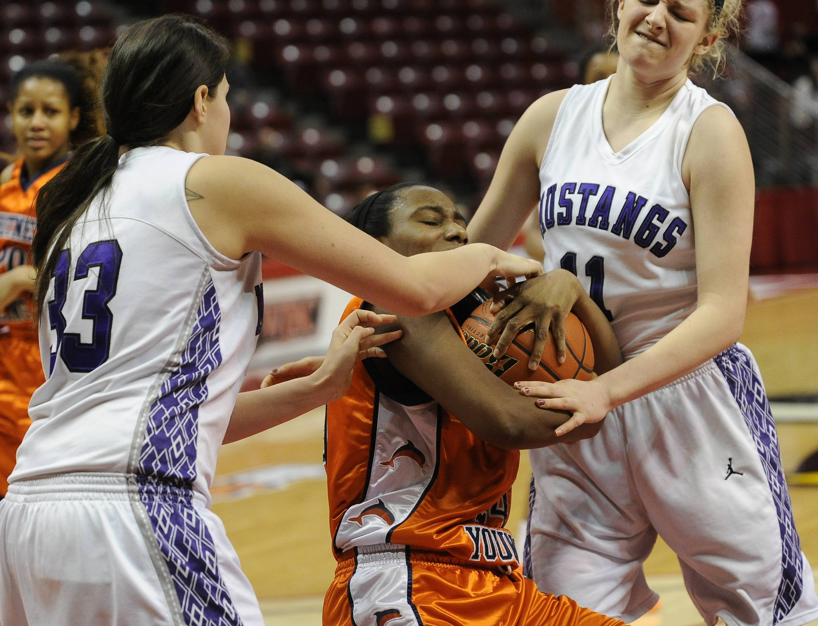 Images from the Class 4A state title girls basketball game Rolling Meadows vs Chicago (Whitney Young) at Redbird Arena in Normal on Saturday, March 8, 2014.