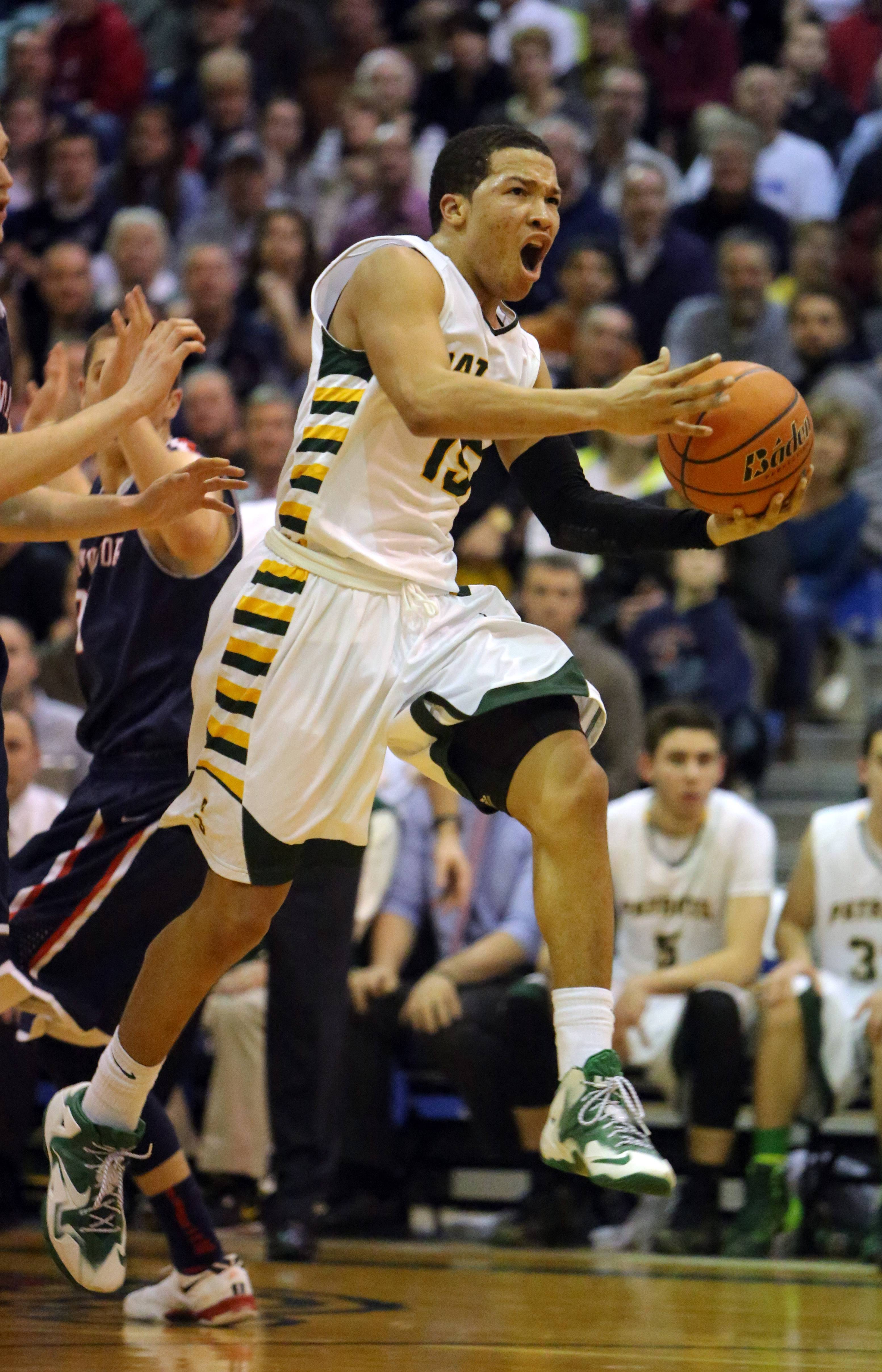 Stevenson's Jalen Brunson drive to the hoop during the Class 4A sectional semifinal at Lake Zurich on Tuesday.