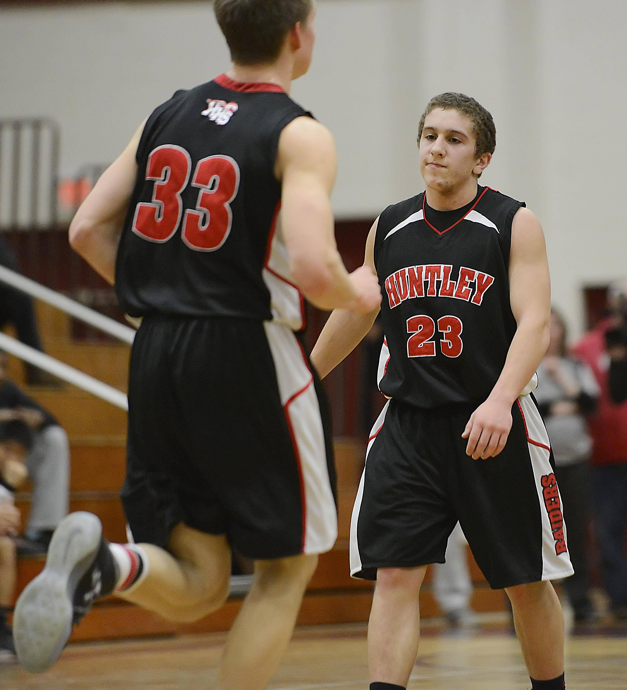 Huntley's Kyle Slonka reacts to a turnover.