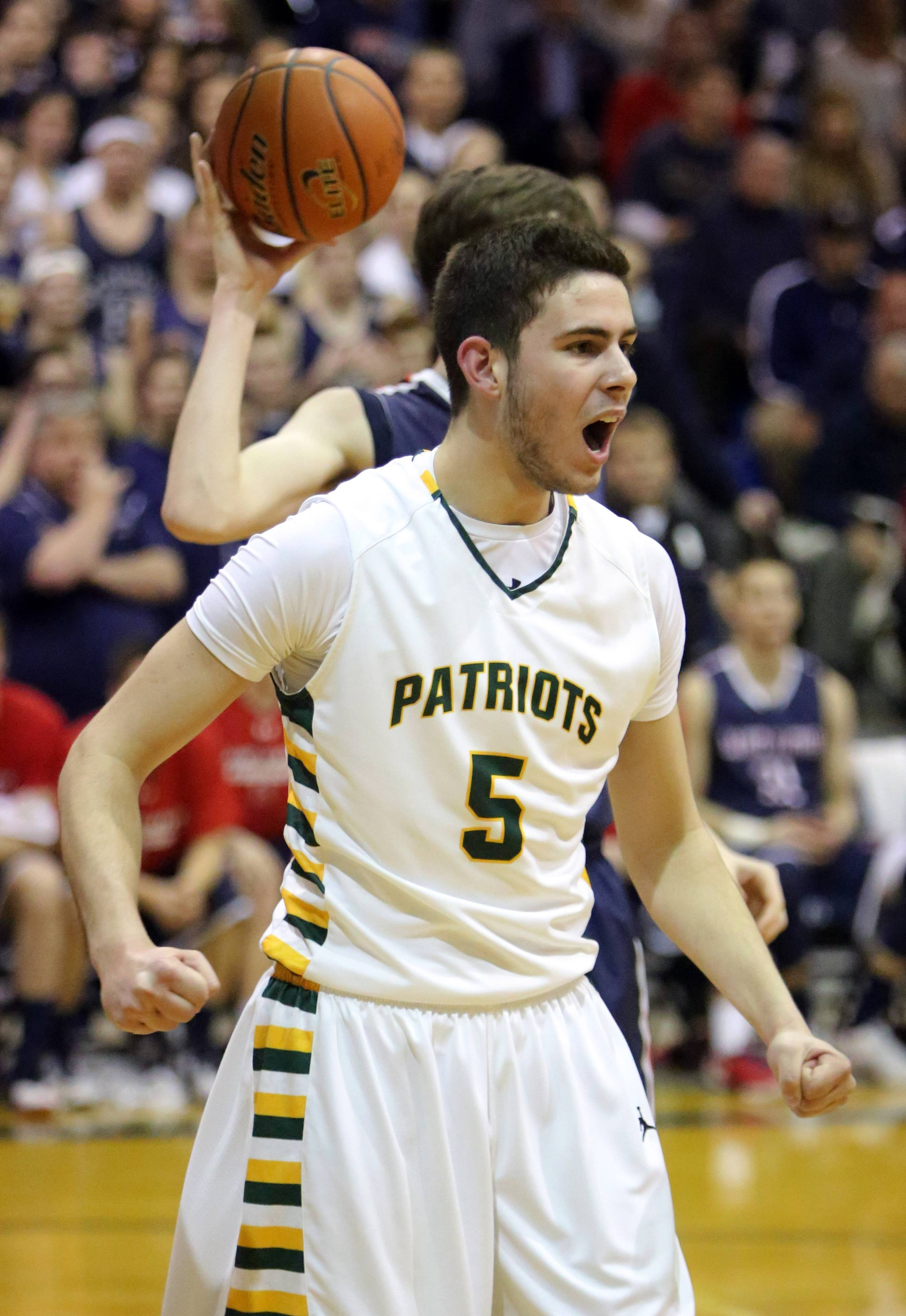 Stevenson's Parker Nichols reacts after getting called for a charge during the Class 4A sectional semifinal at Lake Zurich on Tuesday.