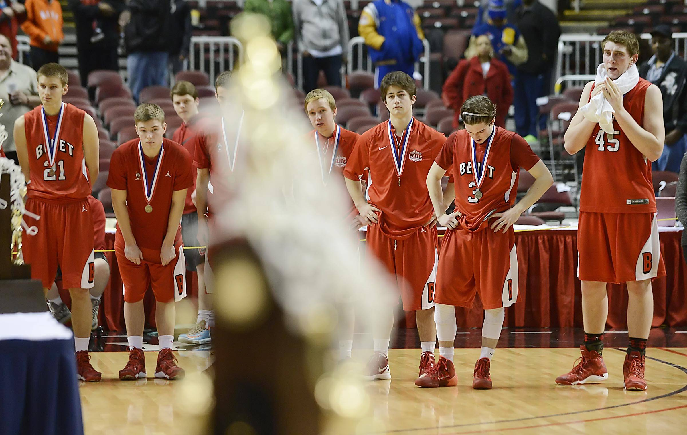 Benet Academy waits to receive its second place trophy after losing in the final seconds to Whitney Young in the Class 4A state championship game at Carver Arena in Peoria Saturday.