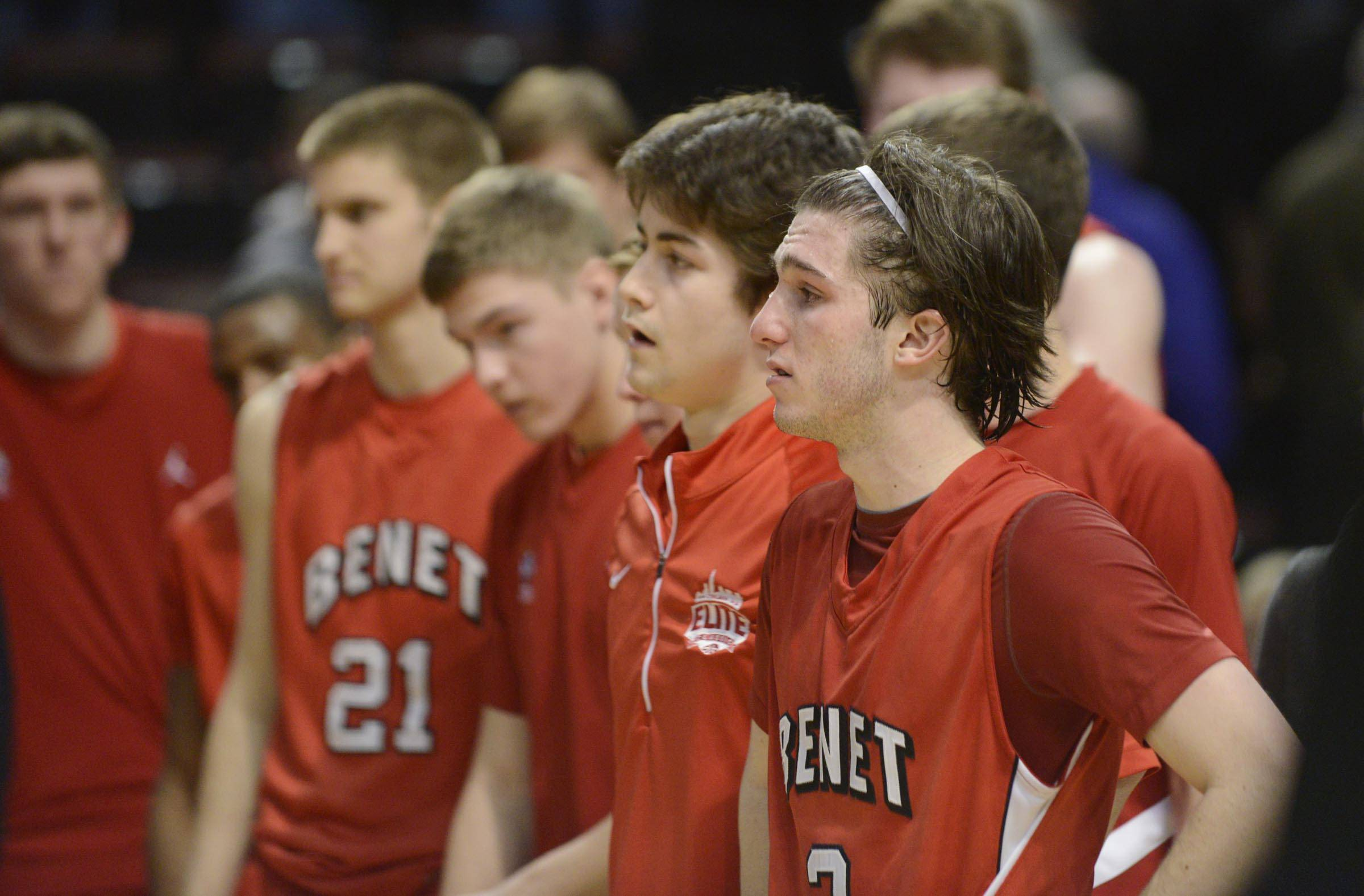 Benet Academy's Collin Pellettieri stands with his teammates after losing to Whitney Young in the Class 4A state championship game at Carver Arena in Peoria Saturday.