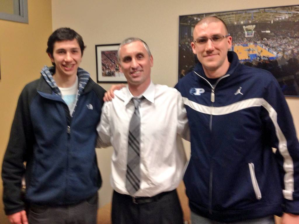 Prospect's Bobby Frasco, left, with Buffalo coach Bobby Hurley and Knights coach John Camardella. Frasco committed to play his college basketball at Buffalo.