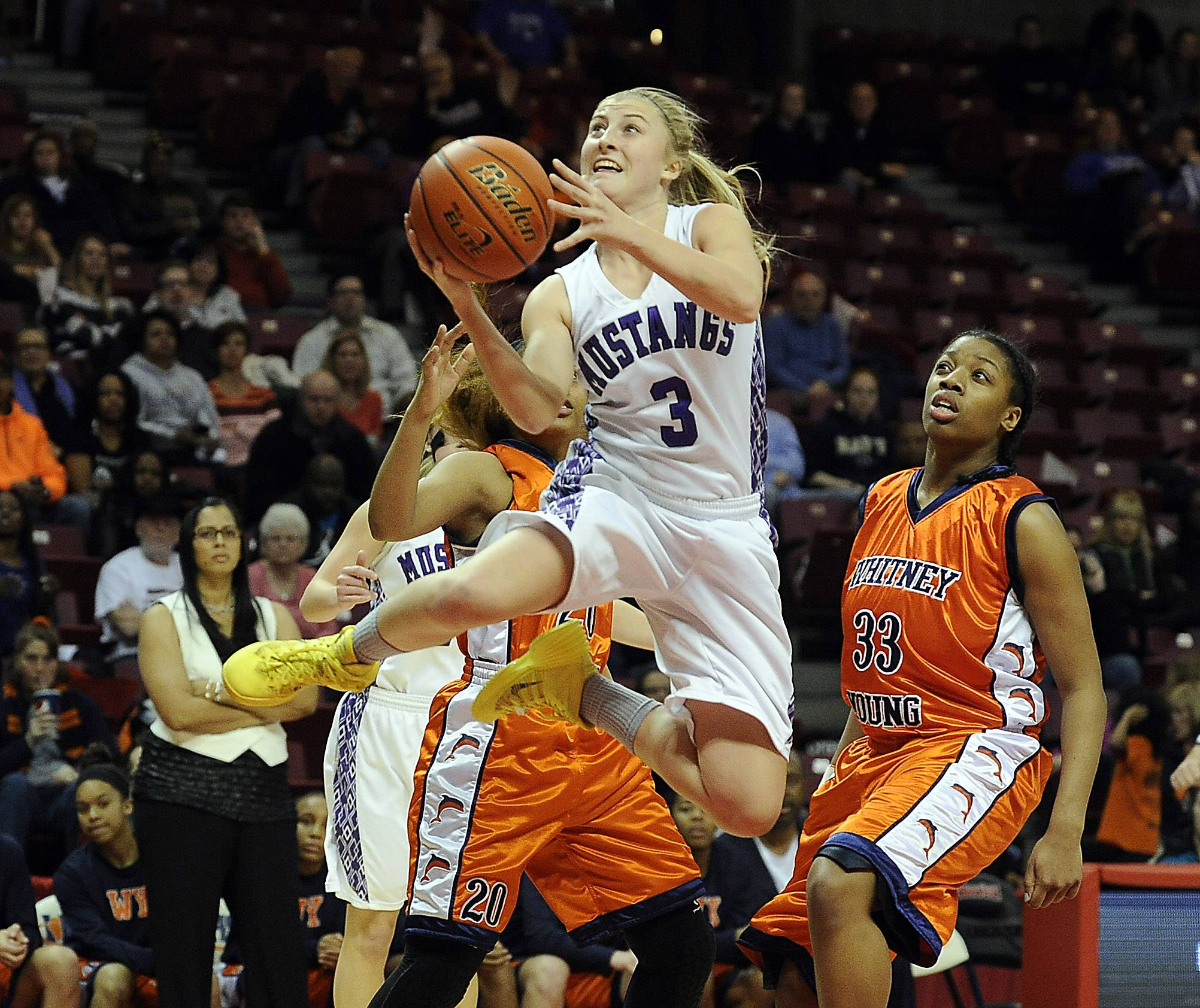 Rolling Meadows' Jackie Kemph fliess through the air past Whitney Young defenders in the Class 4A championship game in Normal.