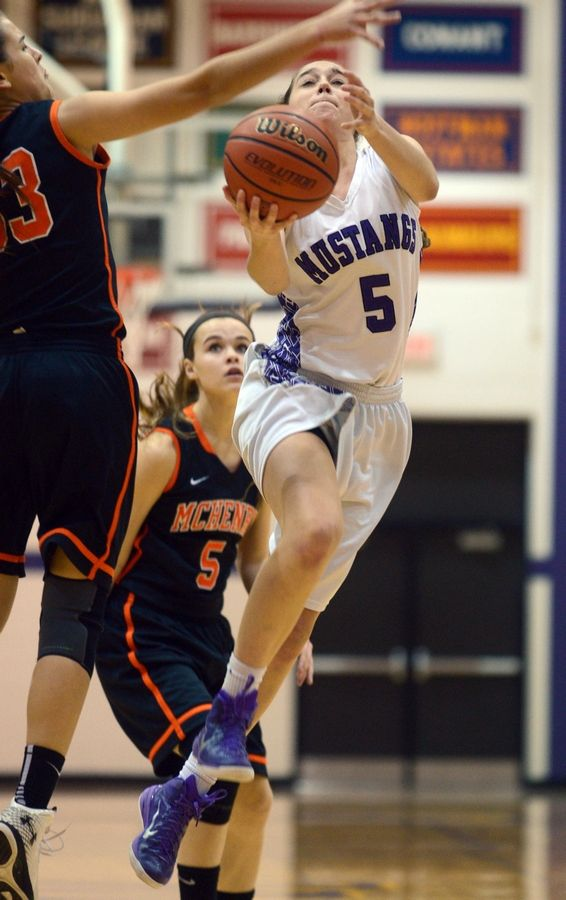 Rolling Meadows' Kyra Spiwak flies to the hoop against McHenry at Rolling Meadows on Monday night.