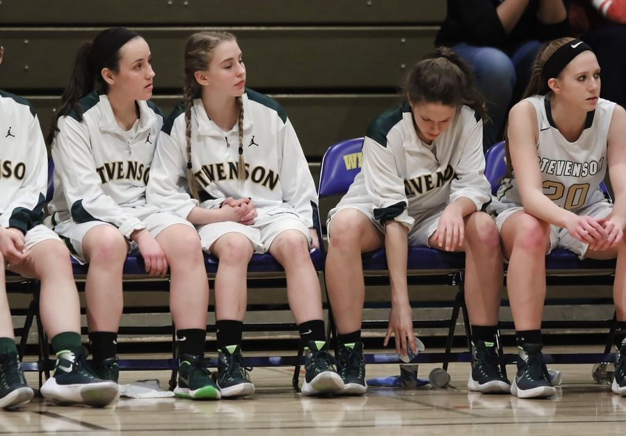 The Stevenson bench watches during the final minute in a loss to Zion-Benton on Thursday at Wheeling.