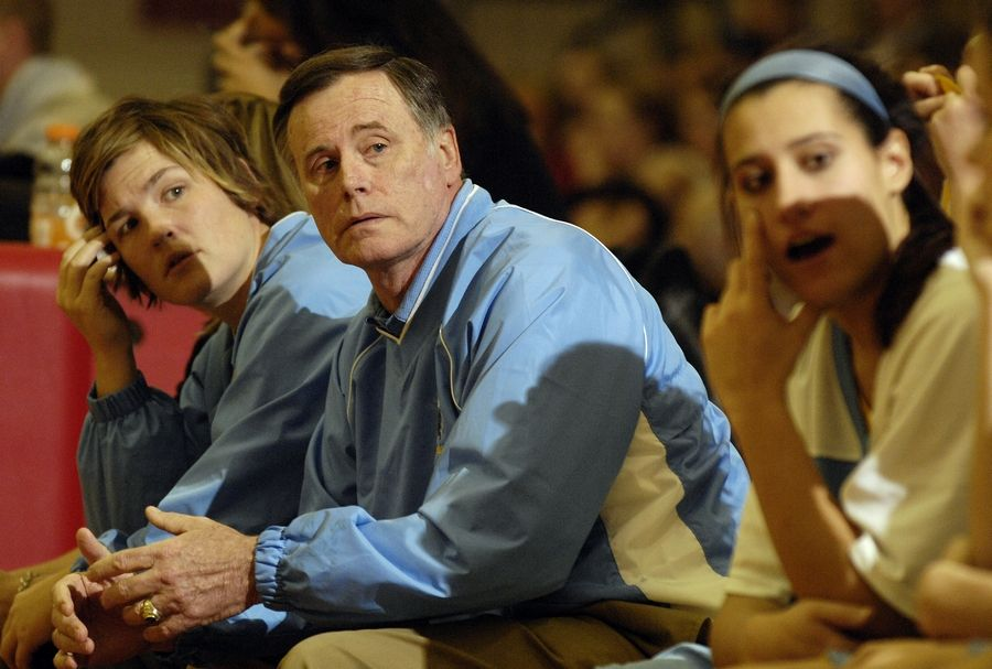 Girls varsity basketball coach Derril Kipp led Maine West to 788 wins during his 35-year tenure.