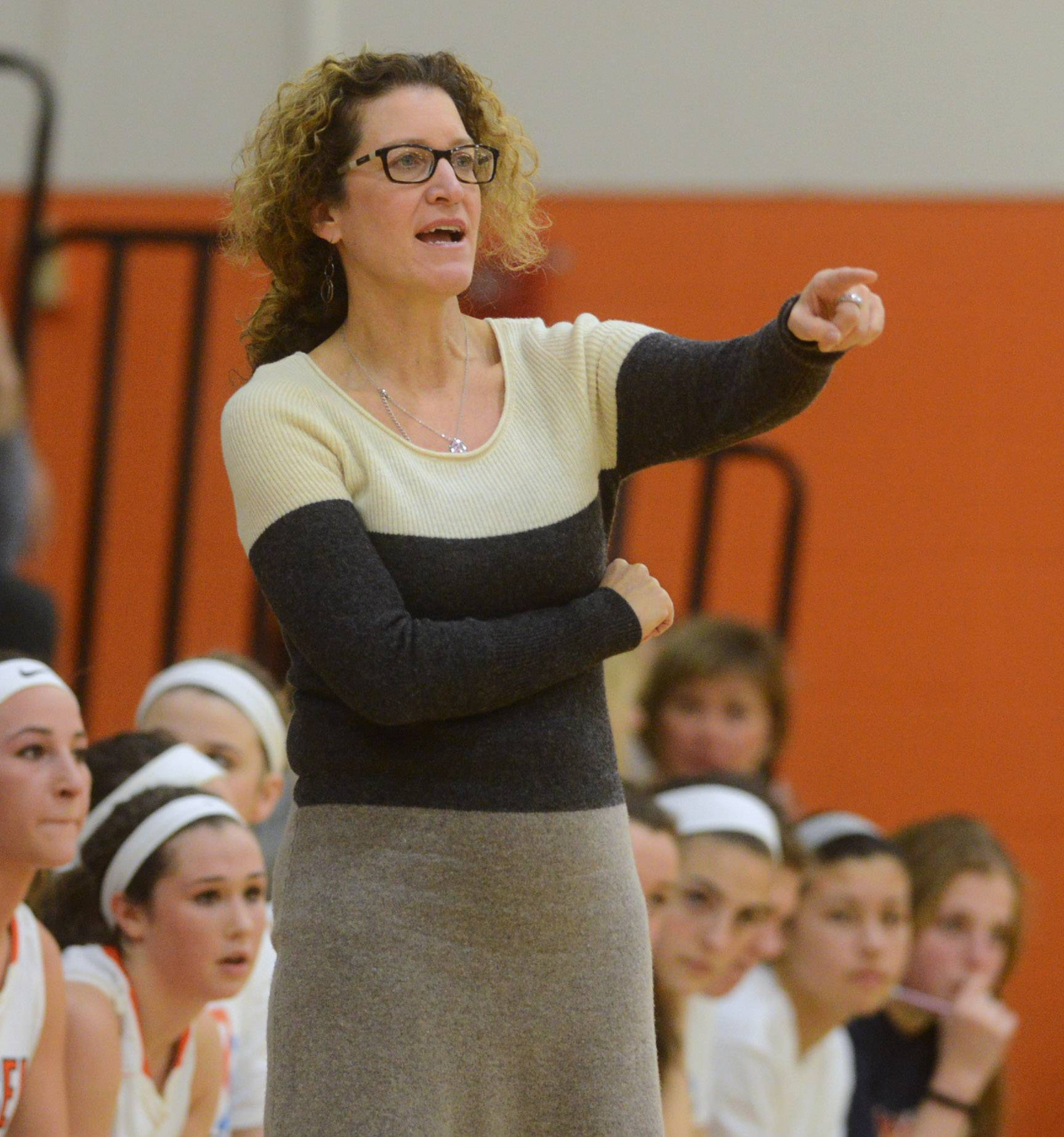 Hersey girls basketball coach Mary Fendley leads her team during Friday's home game against Prospect.