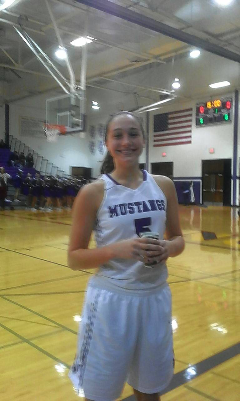 Rolling Meadows' Kyra Spiwak, after scoring her 1,000th career point in Friday's victory against Wheeling.