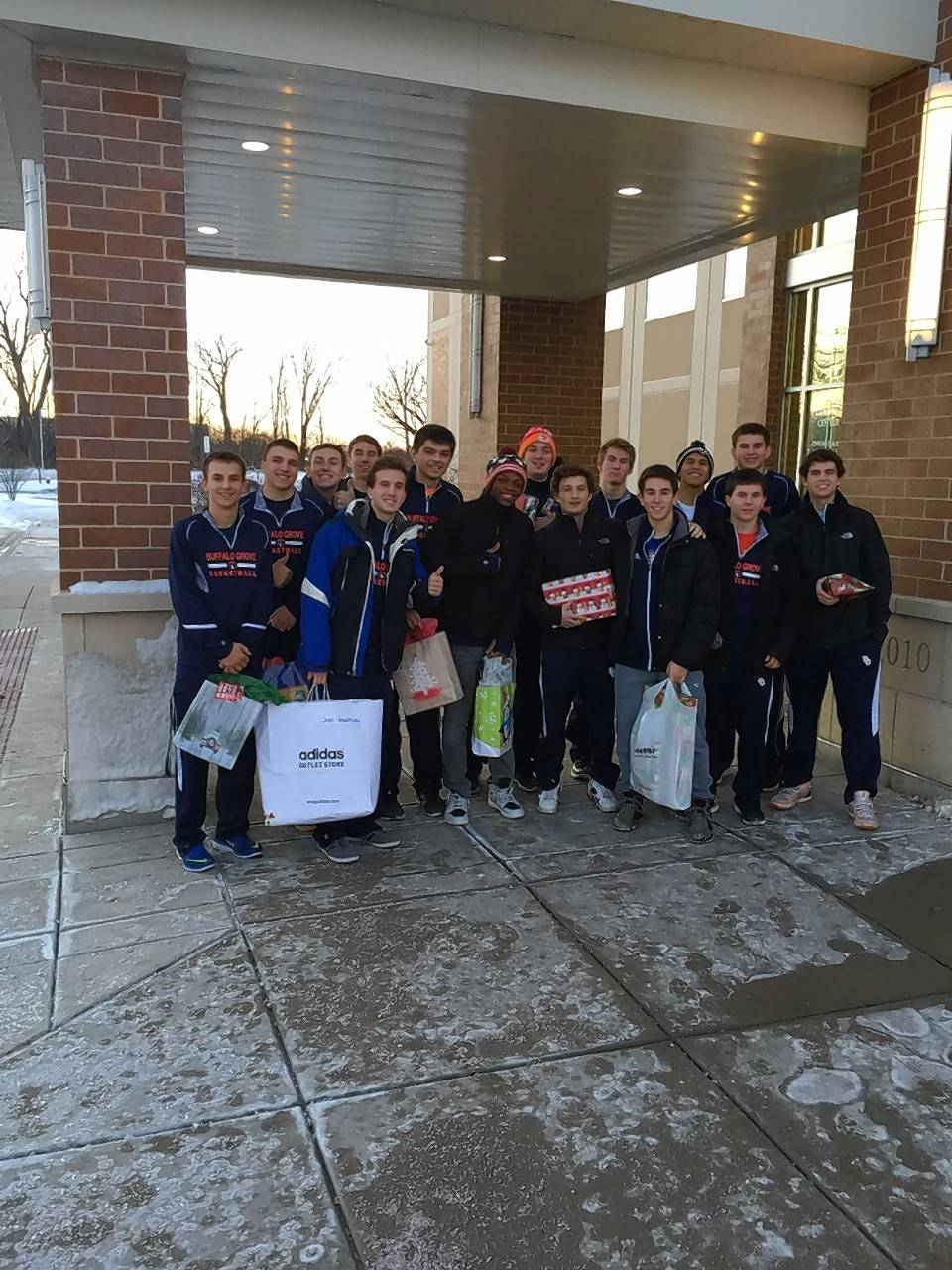 Buffalo Grove's boys basketball team found the spirit of the season, and demonstrated it with a visit to Partners for our Communities in Palatine.