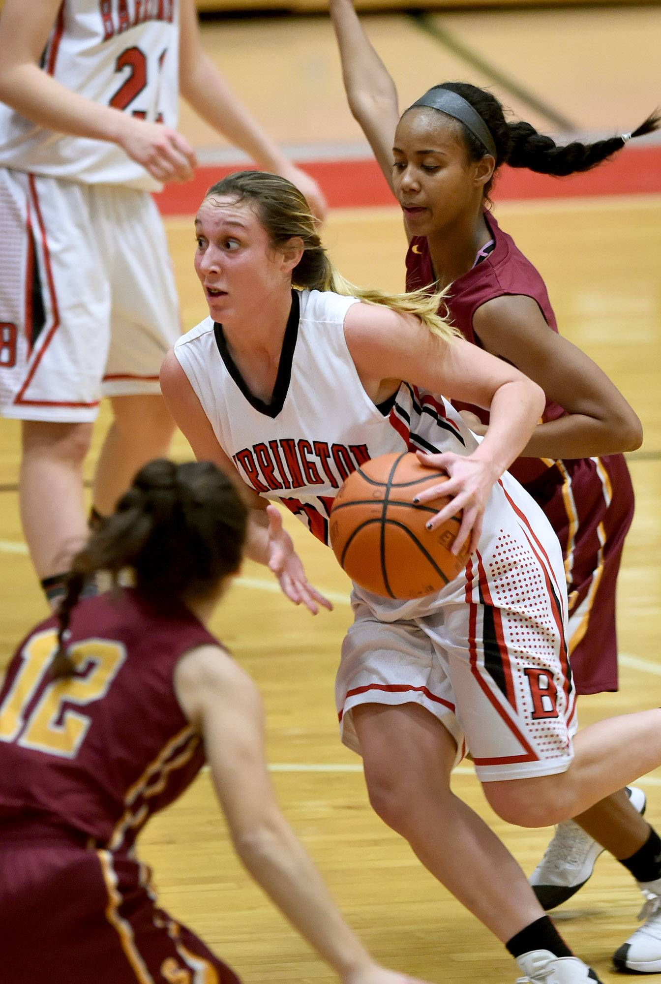 Barrington's Tori Meyer (20) drives in for a layup on Friday against Schaumburg.