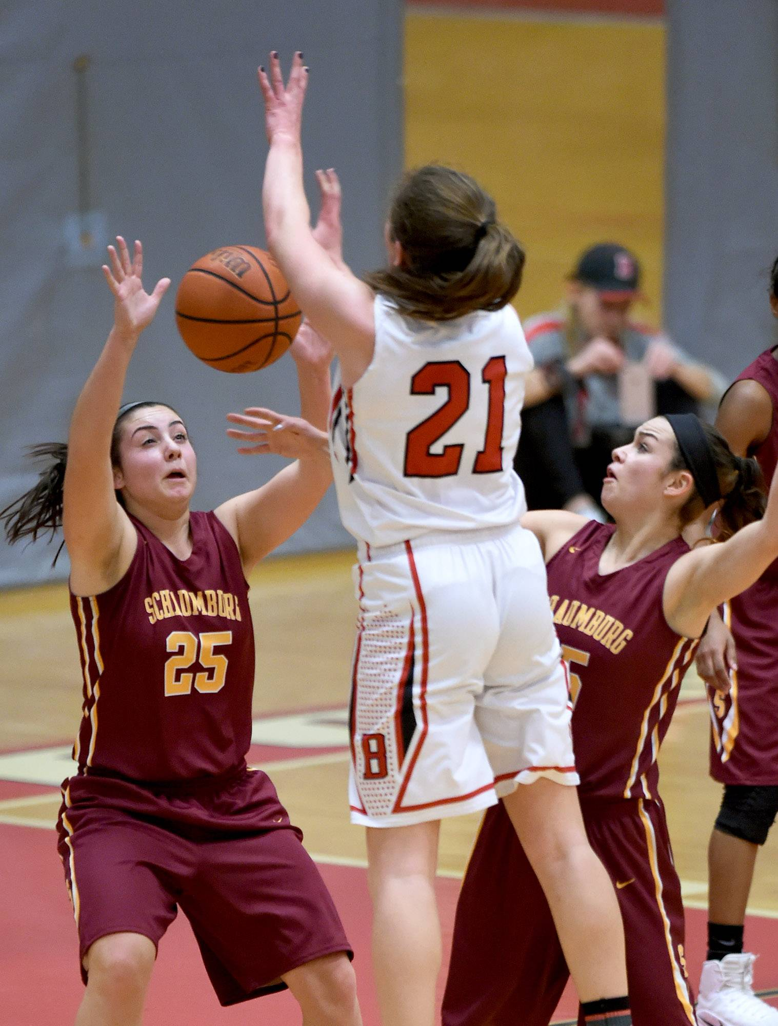 Schaumburg's Abigail Paolicchi (25) steals the ball from Barrington's Cecilia Stack (21) on Friday at Barrington.