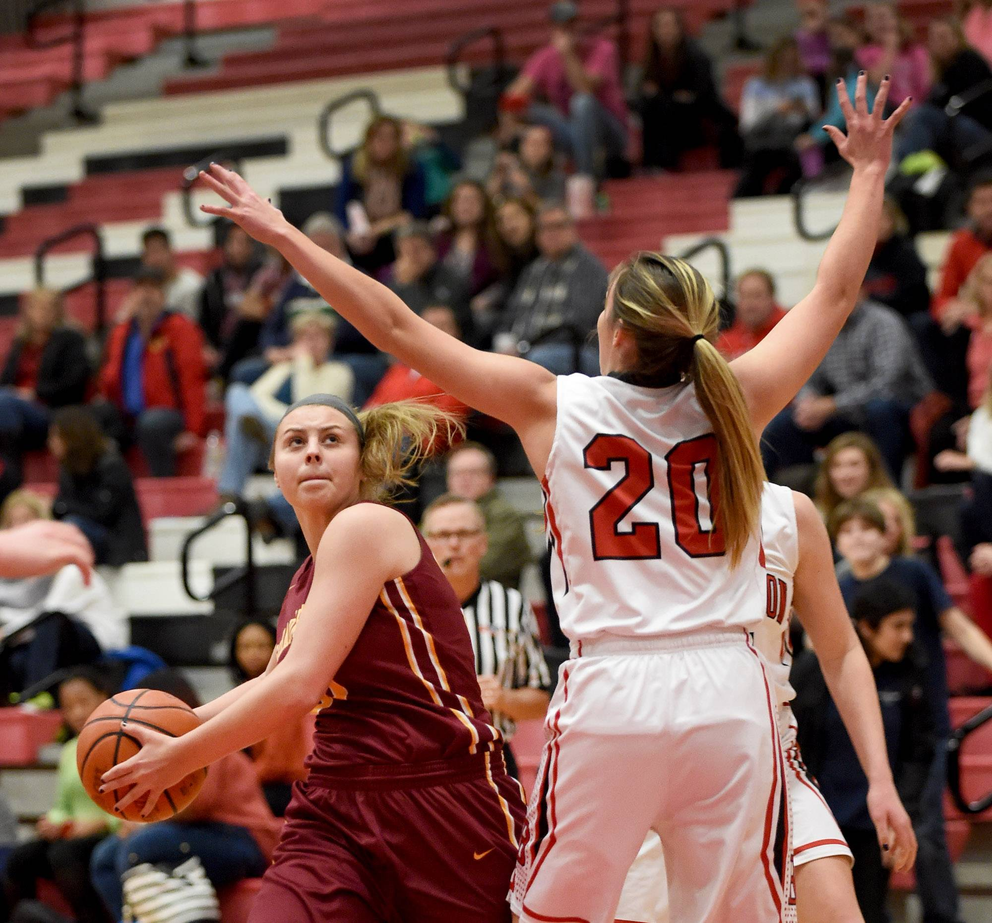 Barrington's Tori Meyer (20) defends against Schaumburg's Mallory Gerber (33) as she zig-zags to the hoop Friday at Barrington.