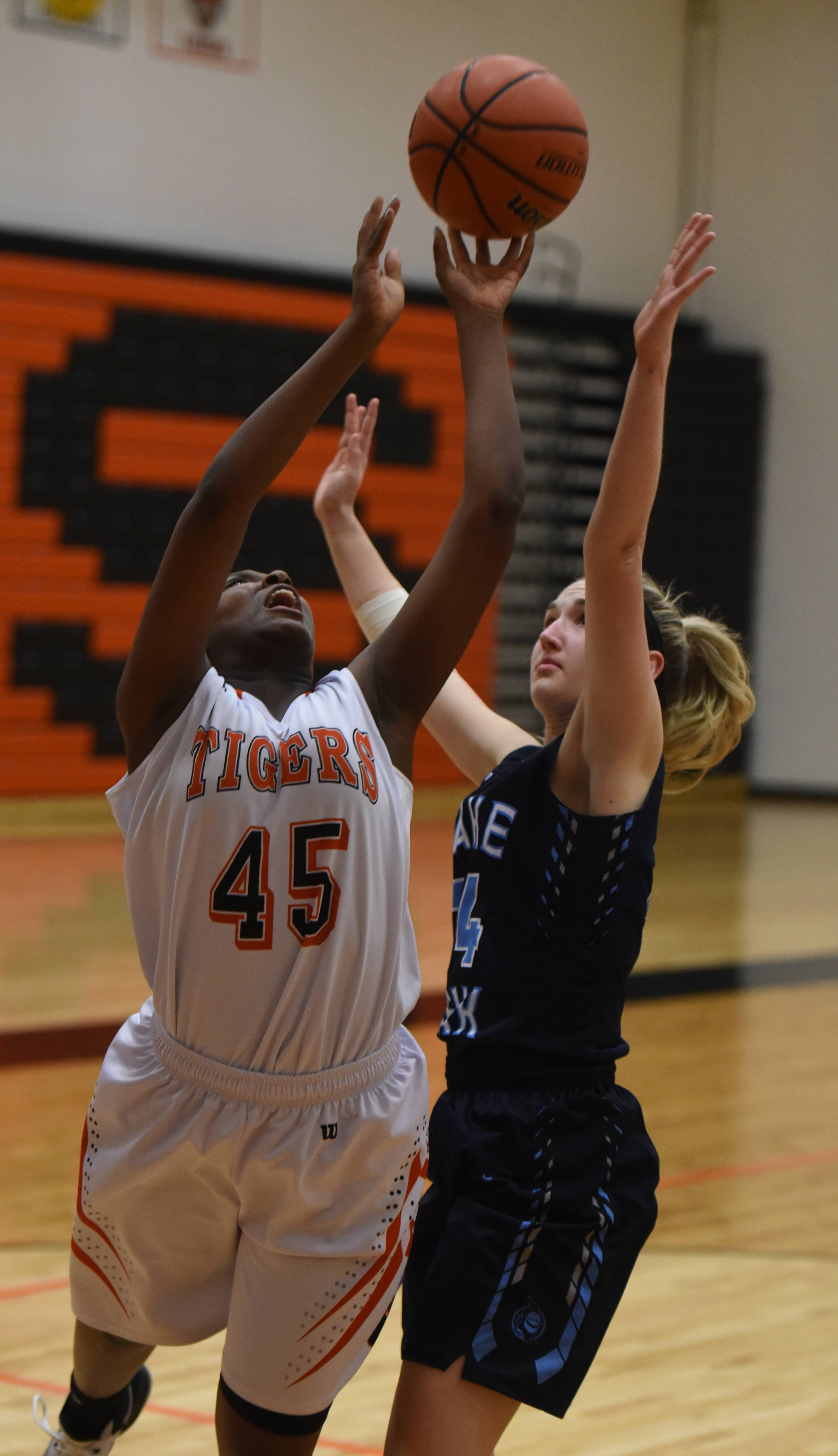 Wheaton Warrenville South's Jayla Johnson (45) and Lake Park Emily Golab (24) vie for a rebound during the Lake Park at WW South girls basketball game Tuesday.