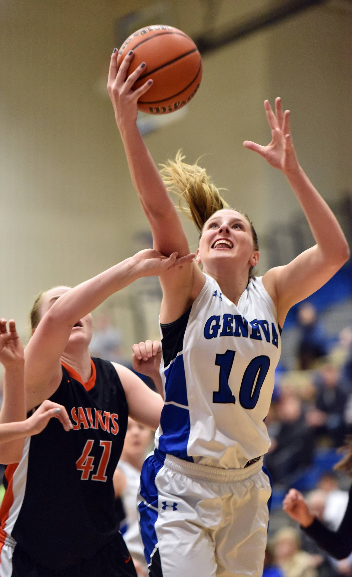 Geneva's Grace Loberg grabs a rebound against St. Charles East's Sara Rosenfeldt earlier this season. The Vikings are the No. 1 seed in the upcoming Class 4A Glenbard West sectional.