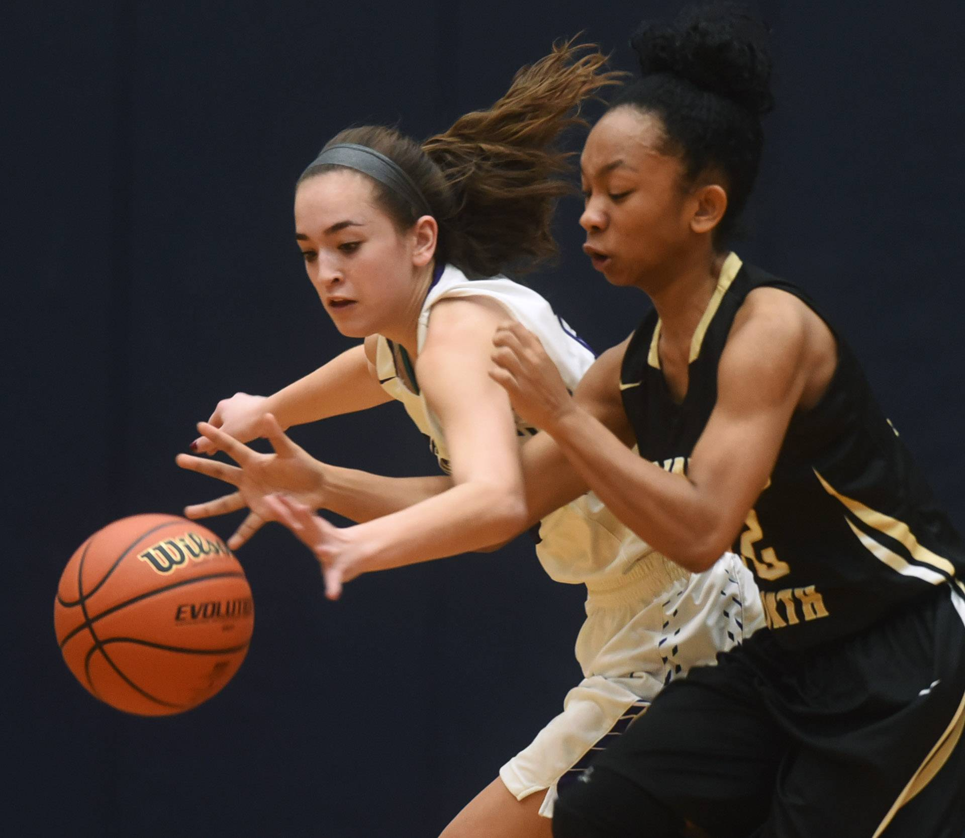 Rolling Meadows' Alexa Davis, left, steals the ball from Glenbard North's Arielle Capel during the Conant regional semifinal on Tuesday.
