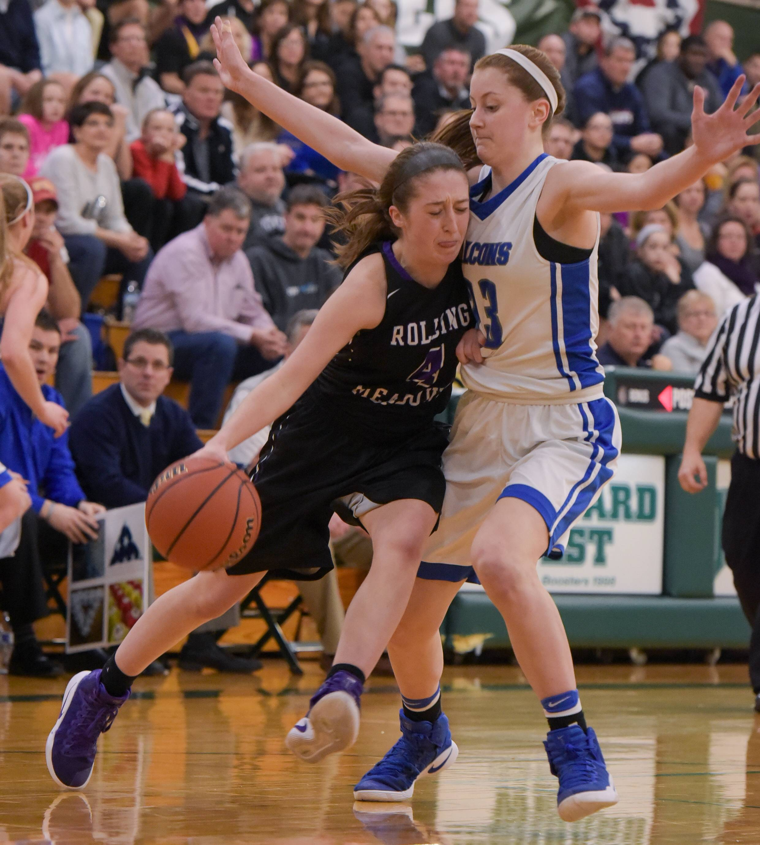 Rolling Meadows' Melissa Spiwak draw contact from Wheaton North's Nikki Baird during the Mustangs' overtime victory on Monday in Class 4A sectional semifinal play at Glenbard West.