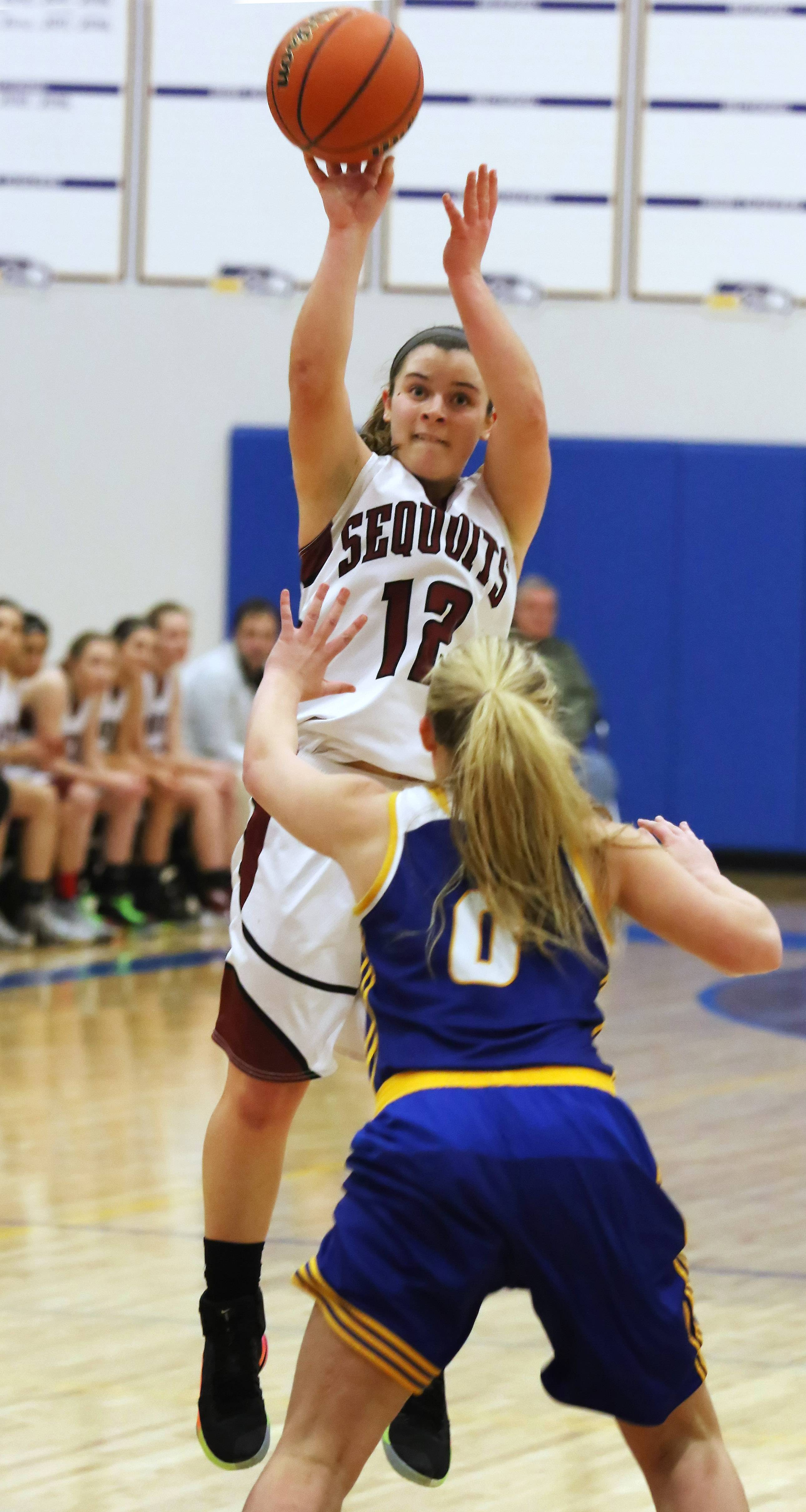 Antioch point guard Ashley Reiser goes up for a jump shot during the Sequoits' sectional final victory over Johnsburg.