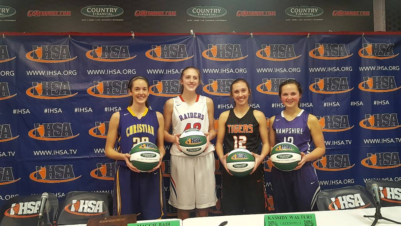 Madisyn Fischer of Peoria Christian, from left, Maggie Bair of Glenbard South, Kassidy Walters of Greenfield and Rachel Dumoulin of Hampshire were the competitors in Saturday's Queen of the Hill 3-point showdown at Redbird Arena in Normal. Bair won the championship and Dumoulin was third.