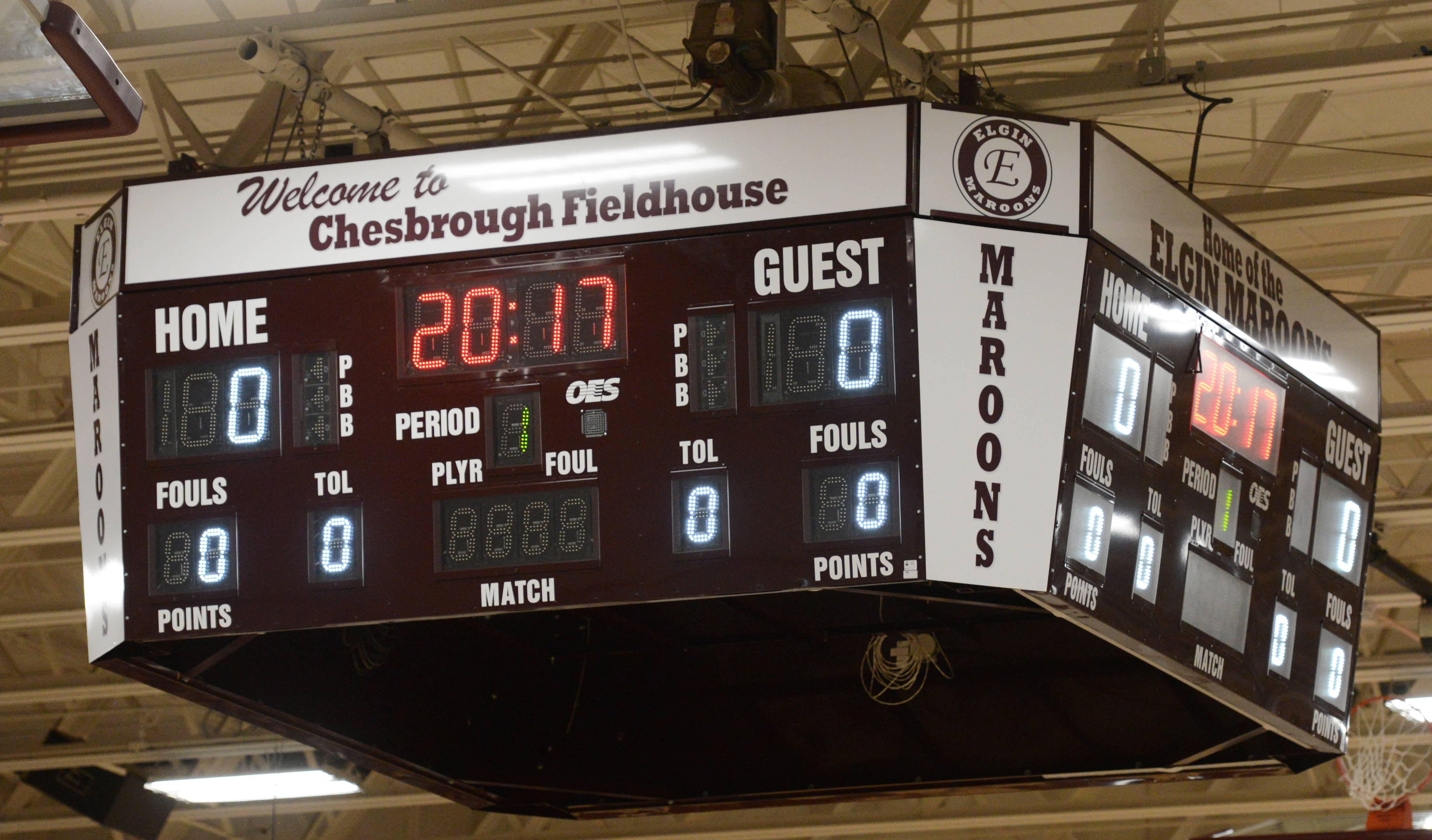 A new scoreboard was part of the recent renovations at Chesbrough Field House at Elgin High School.