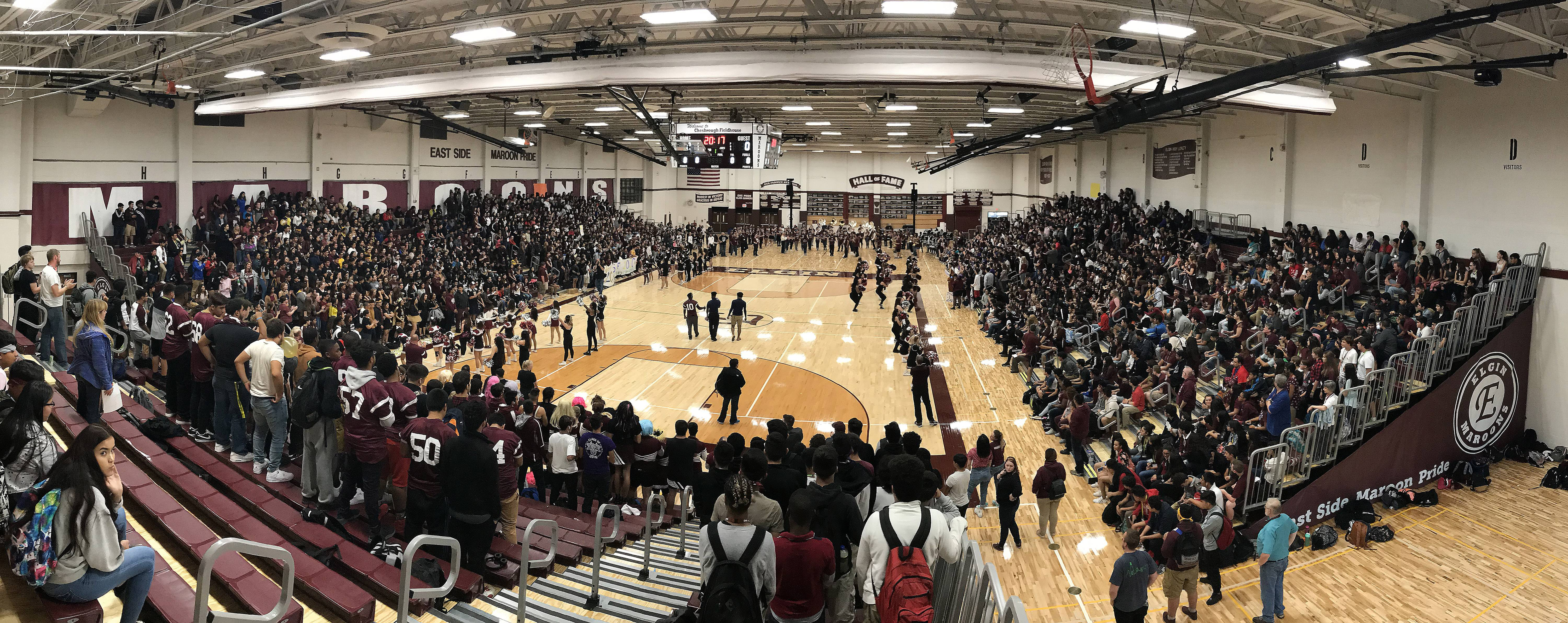 Elgin High School shows off the renovations at Chesbrough Field House during a pep assembly last Friday. They recently installed a new floor, bleachers and scoreboard.
