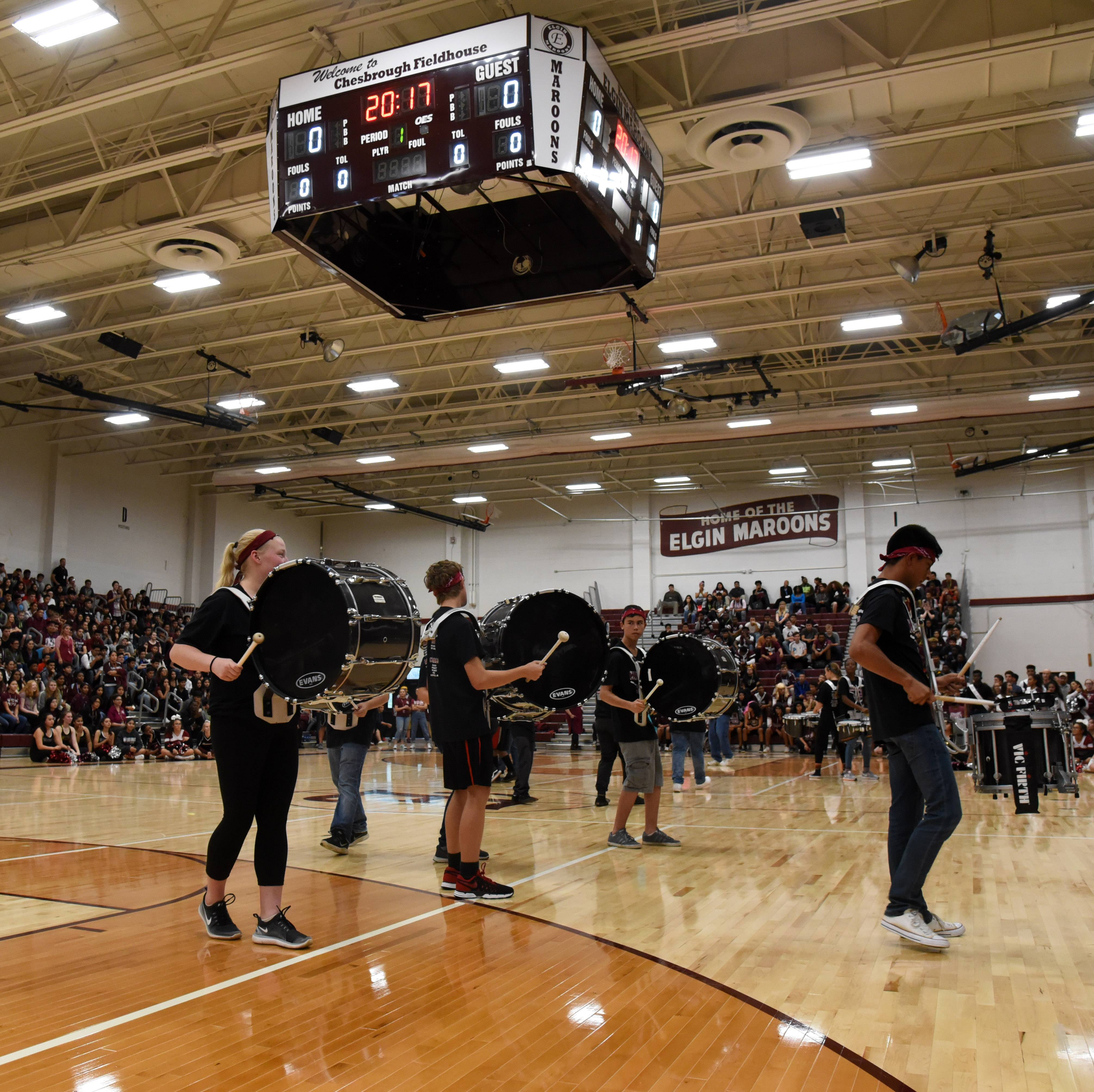 The Elgin High School drum line performs during a pep assembly last Friday.