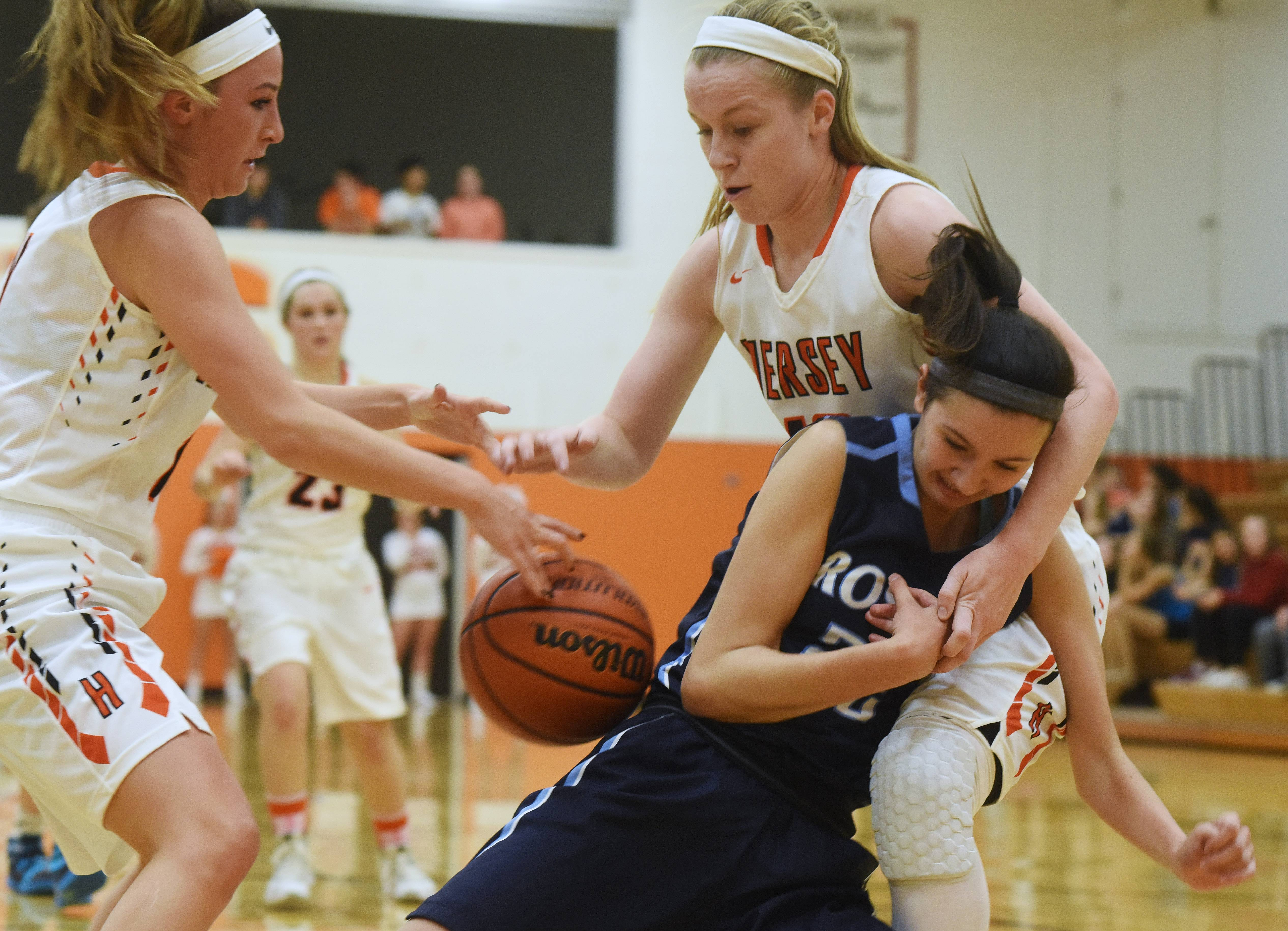 Prospect's Emily Frasco is becoming accustomed to attention from MSL East defenders. Here, Hersey's Carly Cooper, left, and Claire Gritt team up against Frasco last season.
