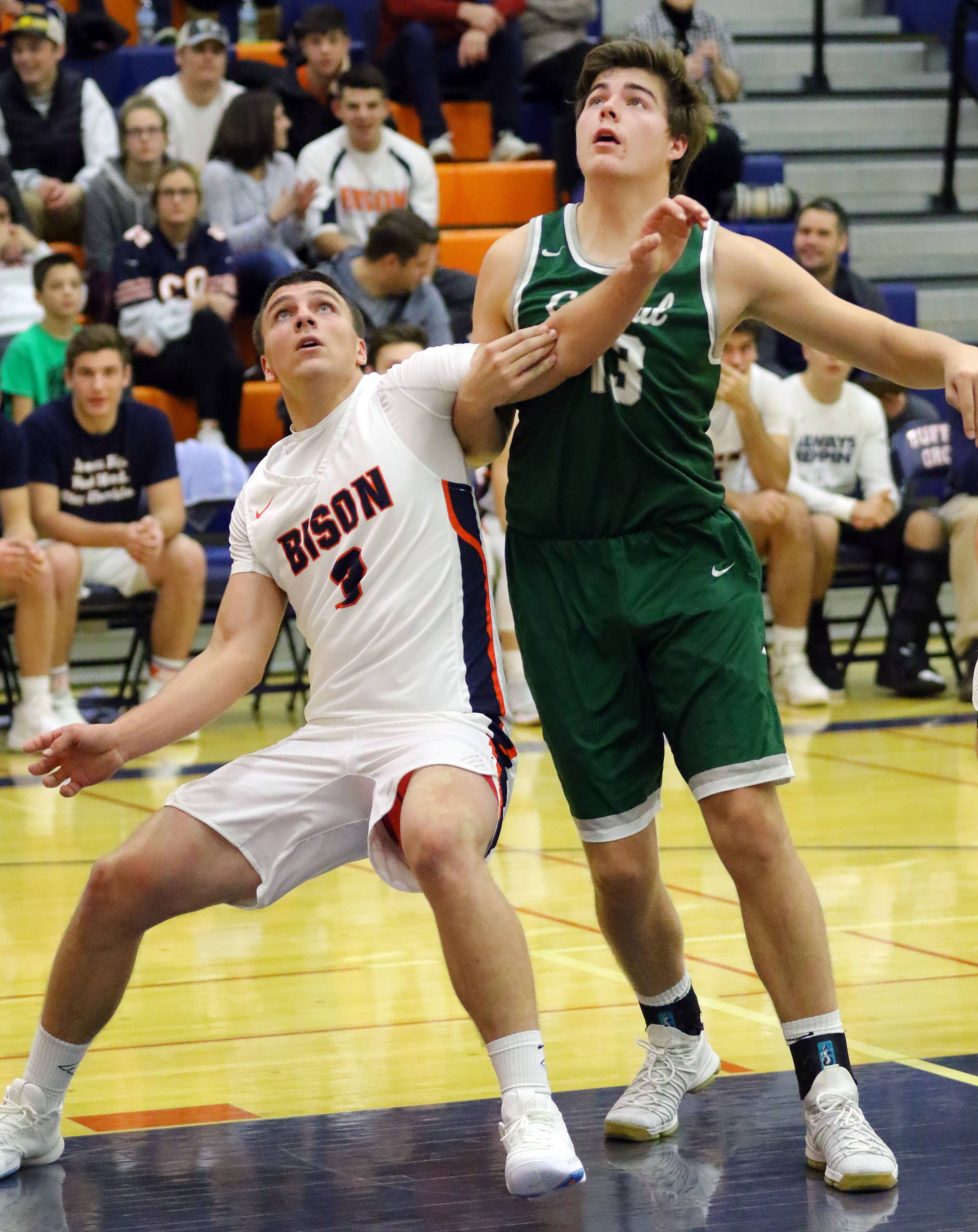 Buffalo Grove's Tom Trieb, left, and Grayslake Central's Jack Spaulding battle for position Monday night at Buffalo Grove.