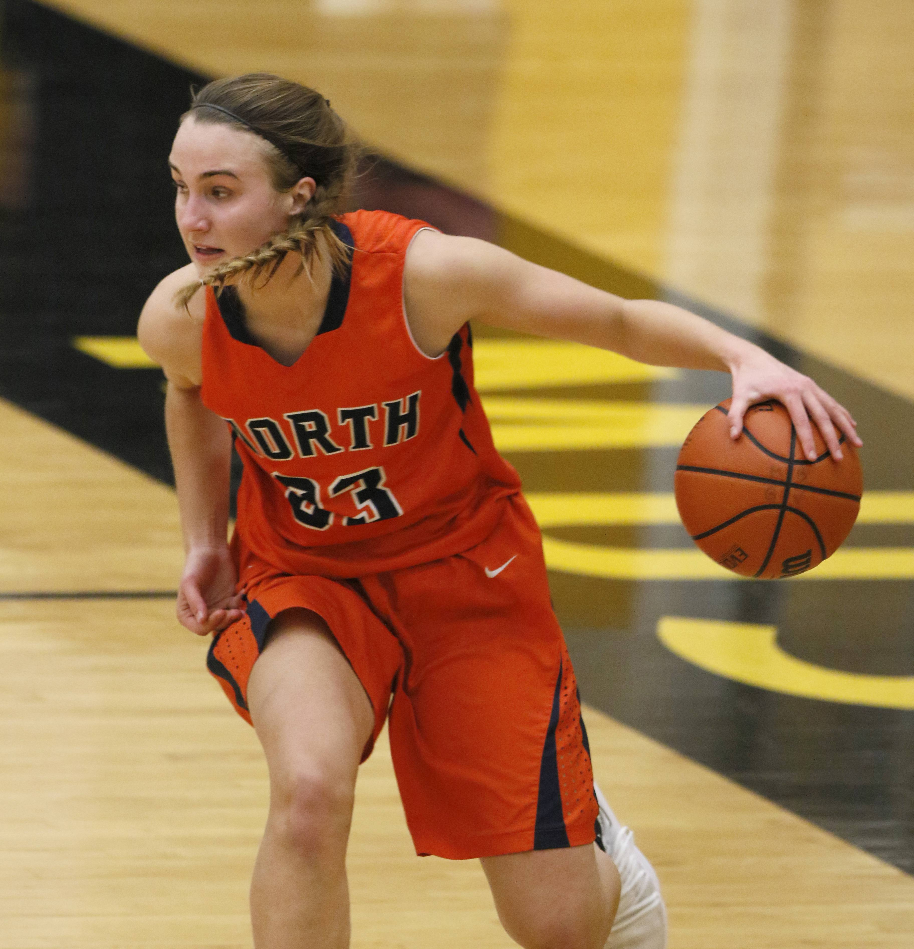 Naperville Central's Greta Kampschroeder moves the ball up court against Metea Valley.