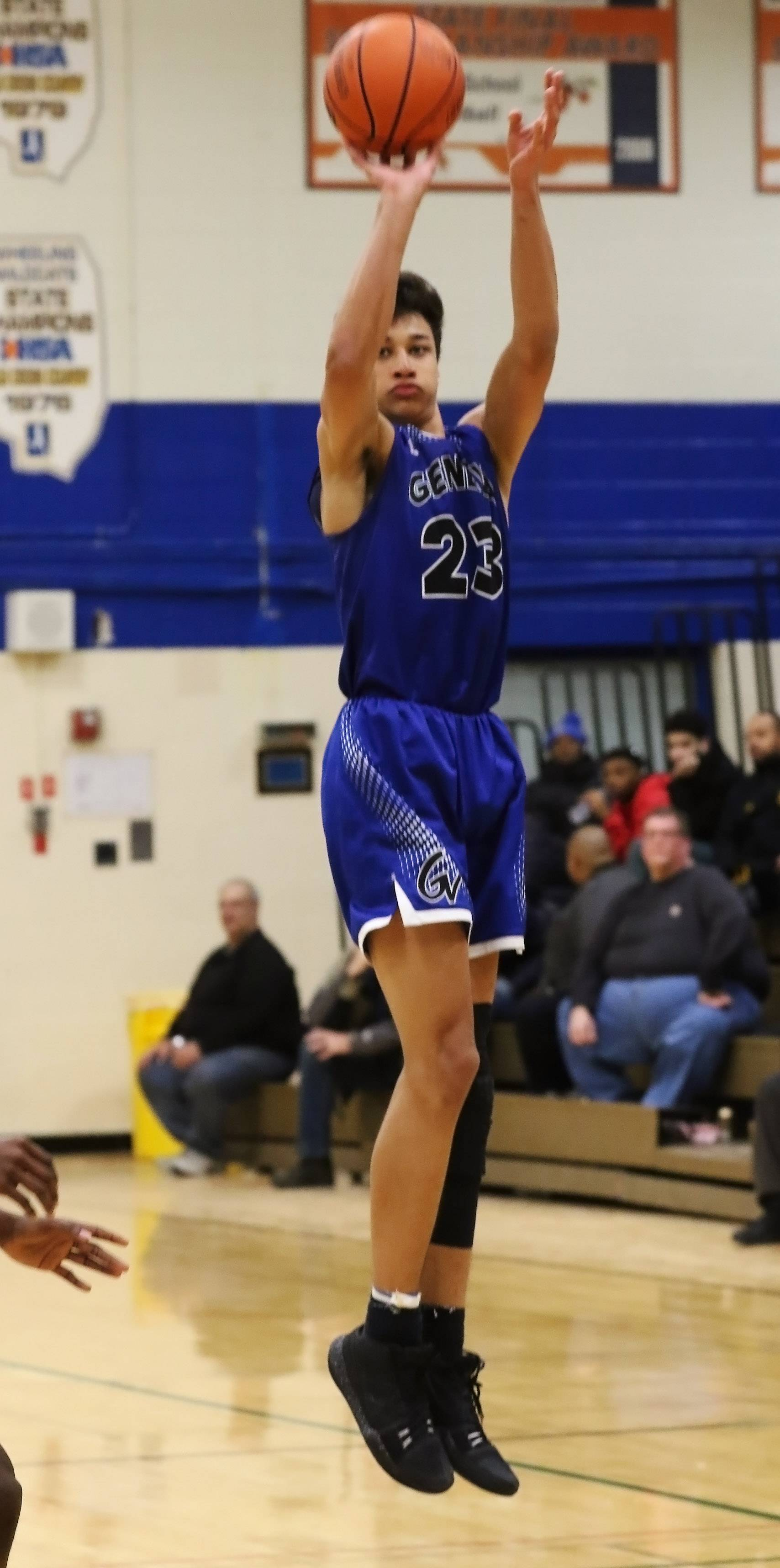 Geneva guard Nate Santos shoots from outside against Prospect on Thursday at Wheeling's Hardwood Classic.
