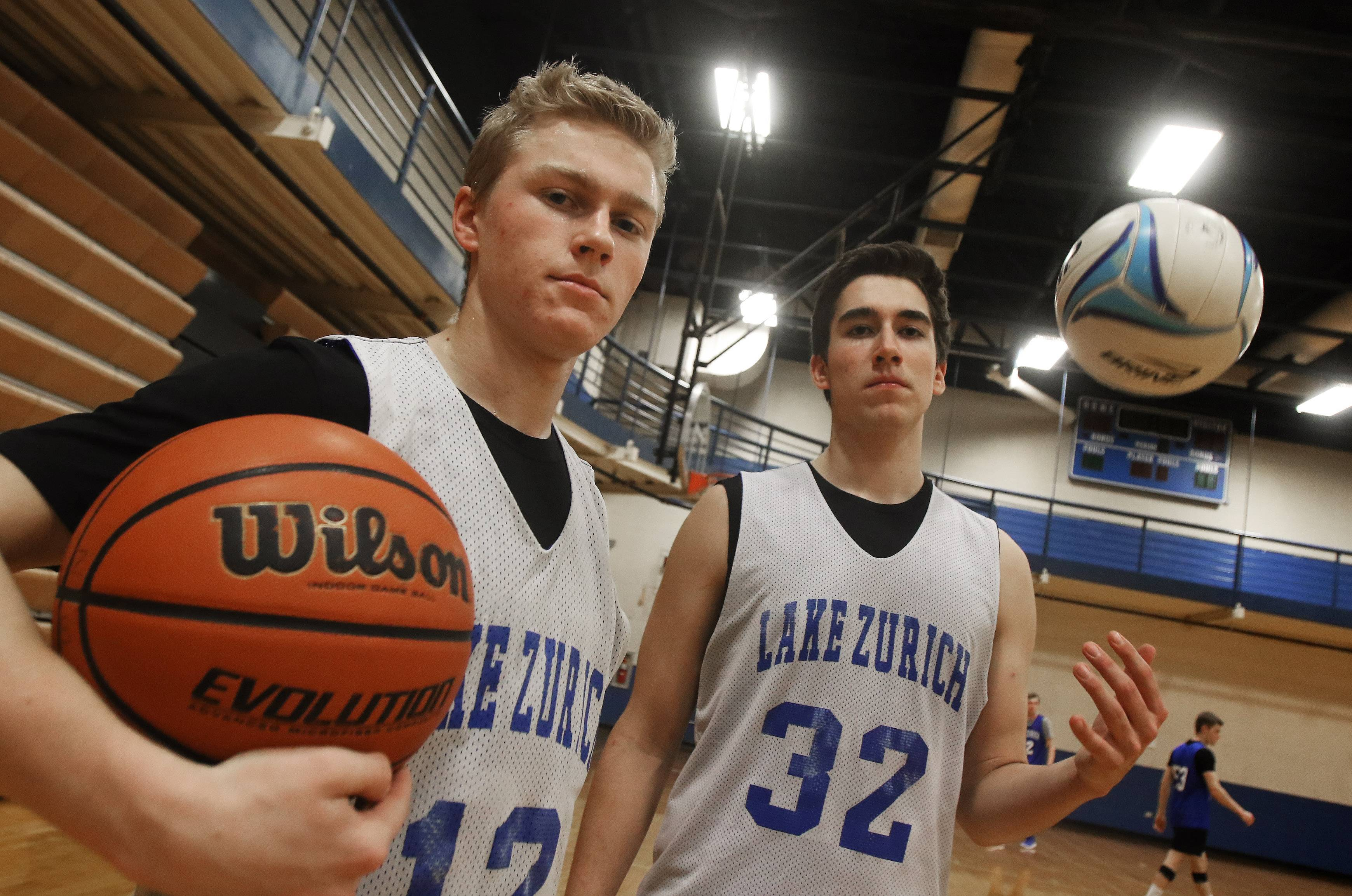 Lake Zurich basketball players Joe Heffernan, left, and Tyler Sarvady are basketball players for the moment -- and soccer and volleyball player, respectively, at other times of the year.