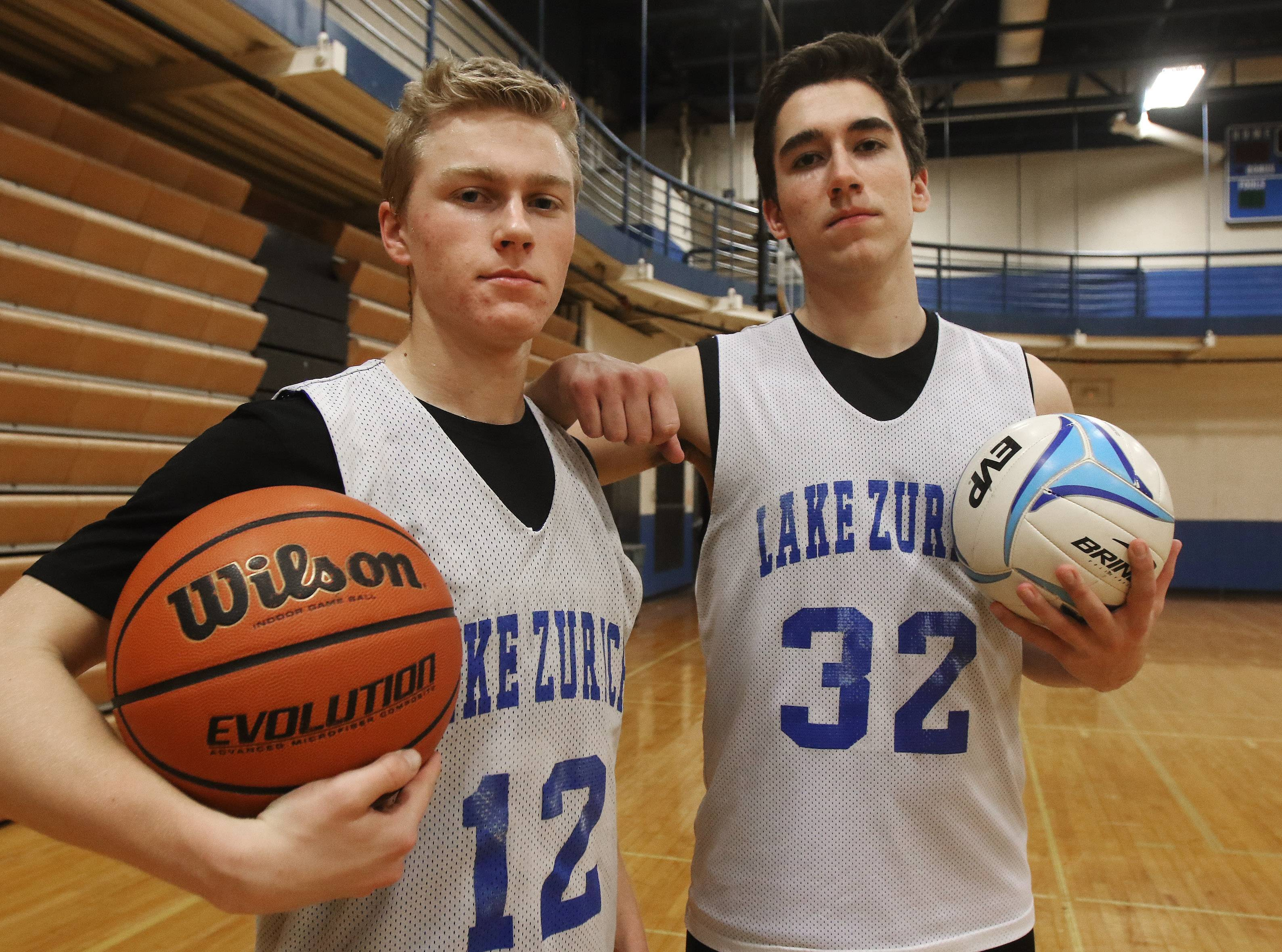 Joe Heffernan, left, and Tyler Sarvady are examples of multi-sports athletes currently thriving in Lake Zurich's basketball program.