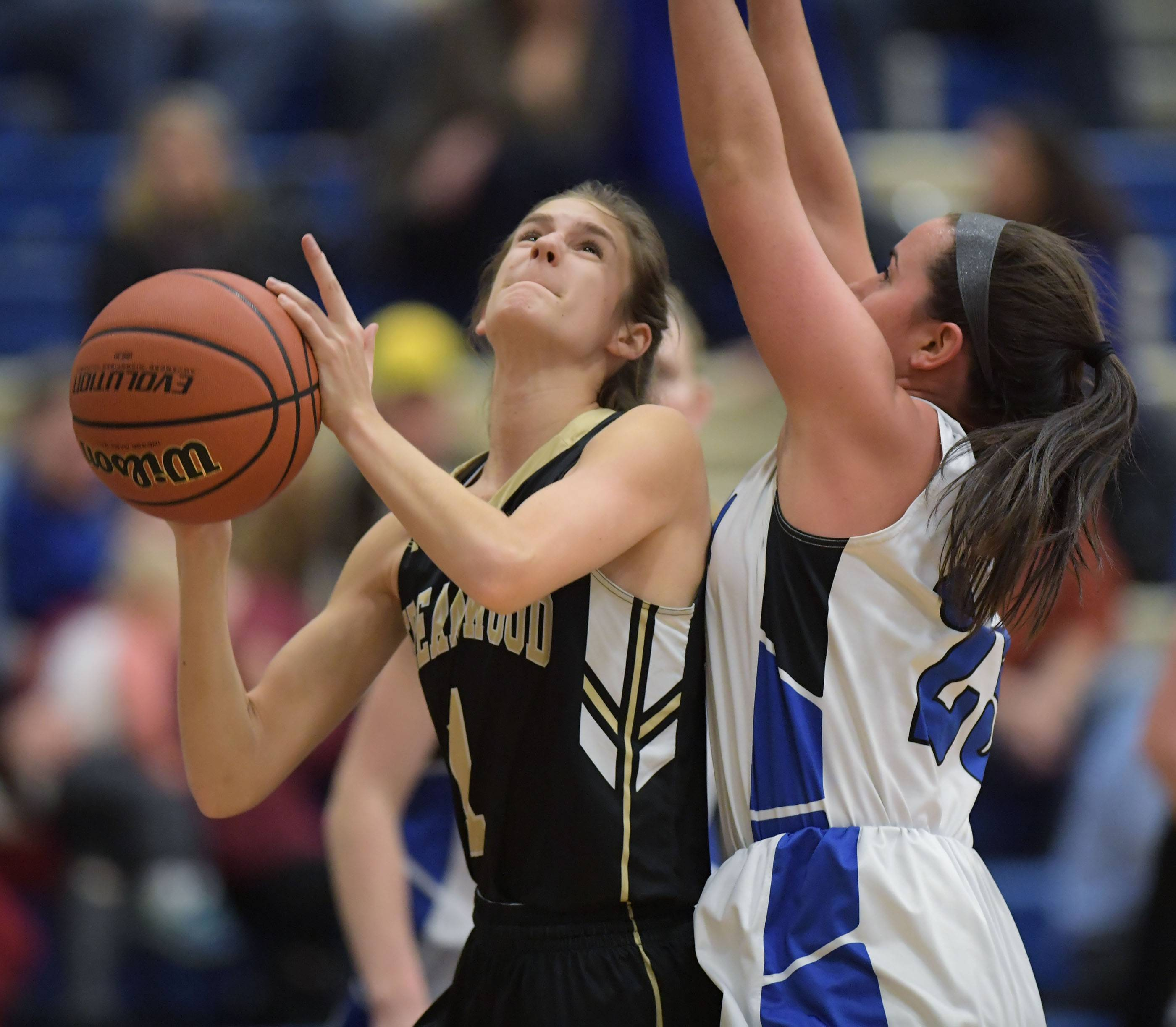Streamwood's Maddi Exline gets shot against Geneva's Margaret Whitley during a girls basketball game Tuesday in Geneva.
