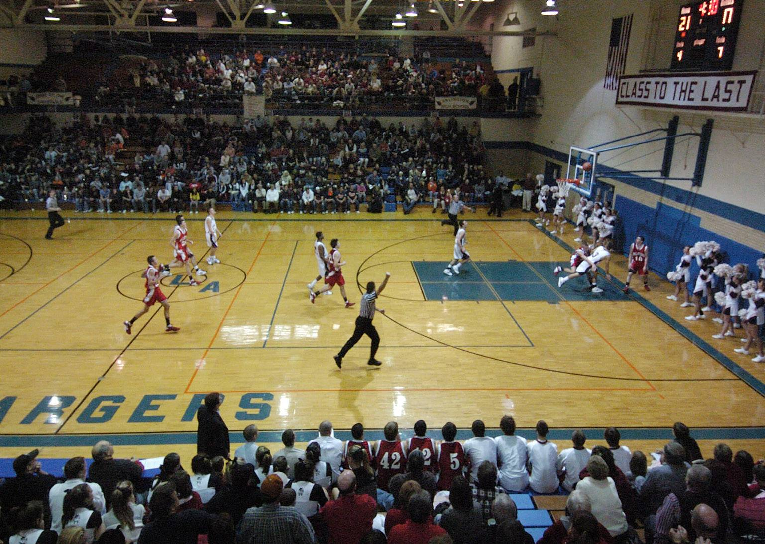 Grace Gym at old Arlington High, pictured here in December of 2008 on Bob Frisk Night with Buffalo Grove playing Palatine, is scheduled to host to Mid-Suburban League boys basketball on Friday.