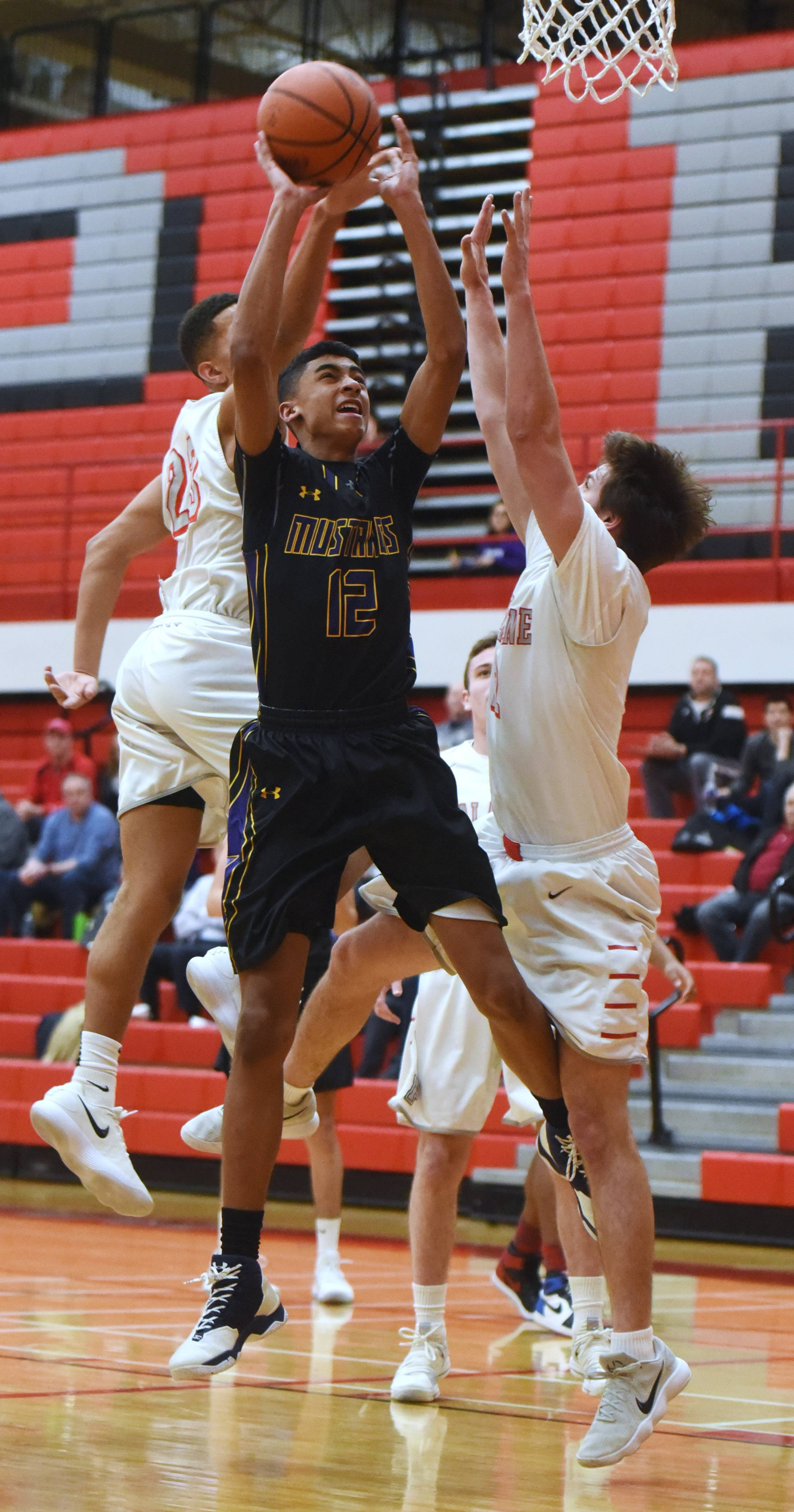 Rolling Meadows' Max Christie shoots against the defense of Palatine's Lamon Berry, left, and Johnny O'Shea during Tuesday's game at Palatine.