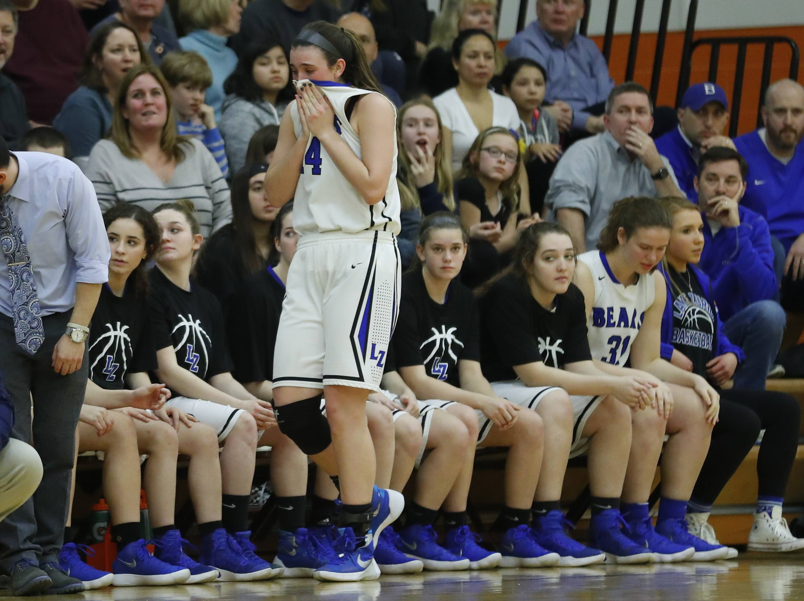 Lake Zurich's McKenna Zobel gets emotional after fouling out during the Class 4A supersectional at Hersey High School in Arlington Heights on Monday.