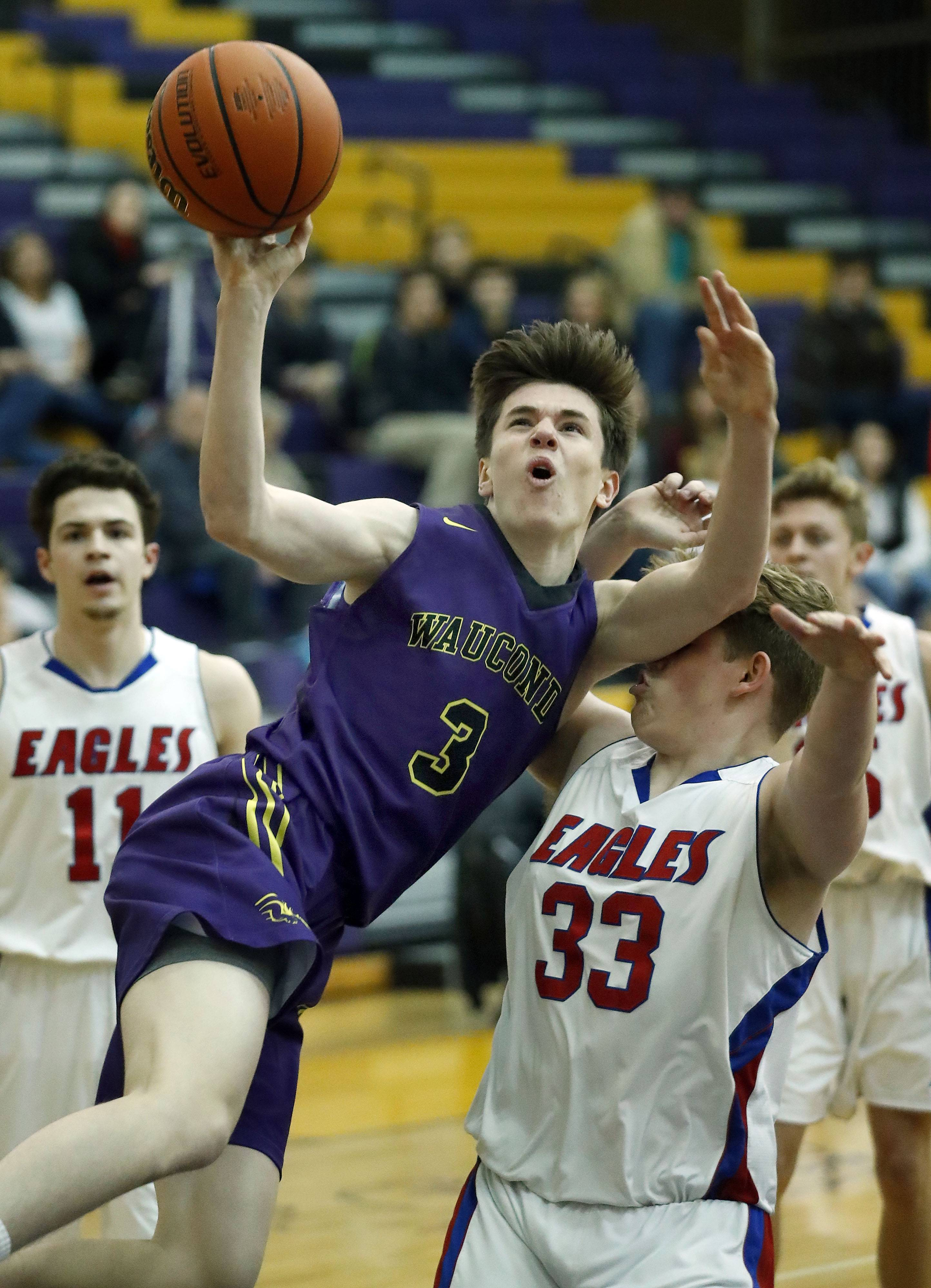 Wauconda's Nick Bulgarelli (3) drives on Lakes' Tylor Gunther during Class 3A regional semifinal play Tuesday at Wauconda.