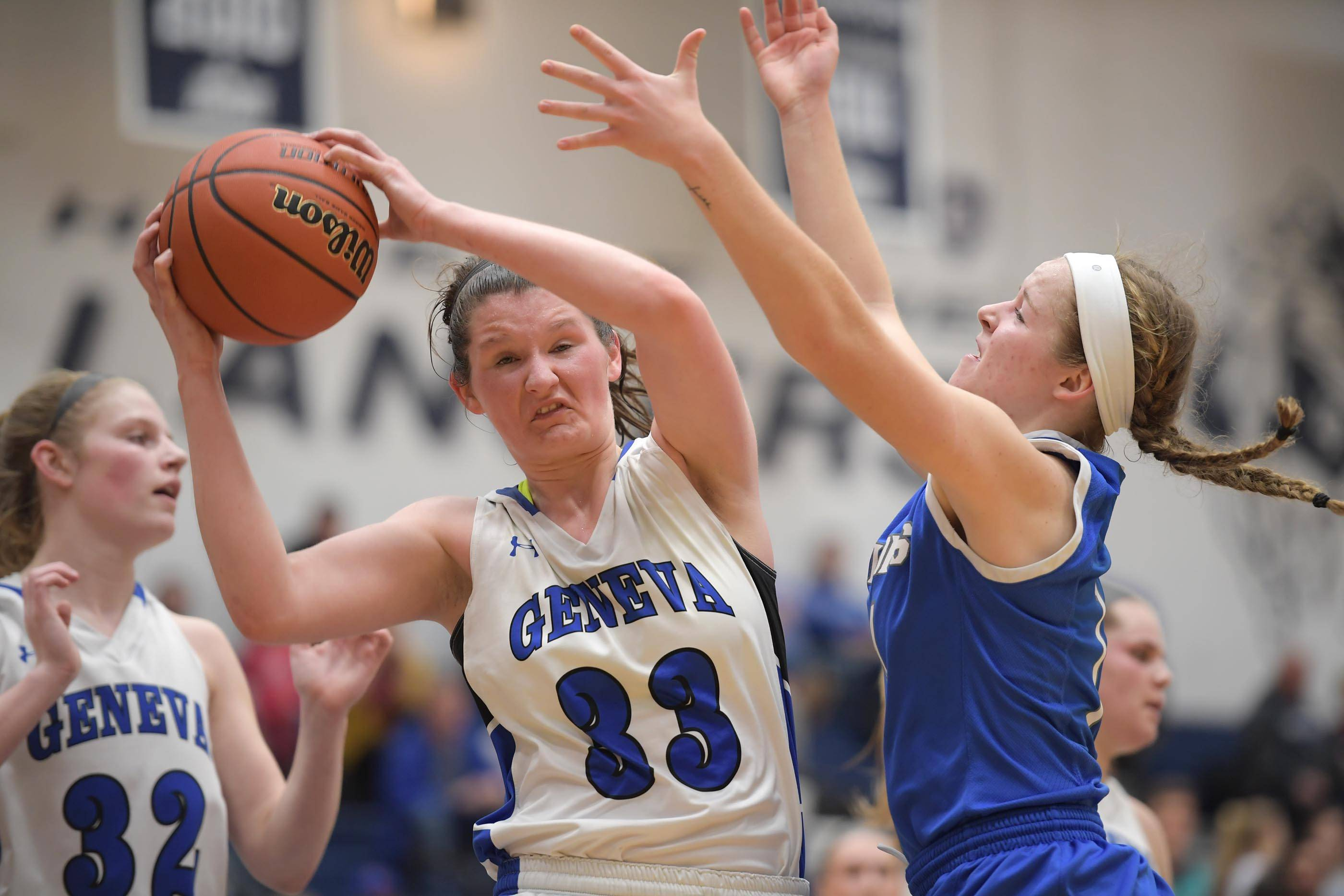 Geneva and Madison Mallory (33) will begin defense of its Class 4A state title Friday when the Vikings take on Maine West at Redbird Arena in Normal.